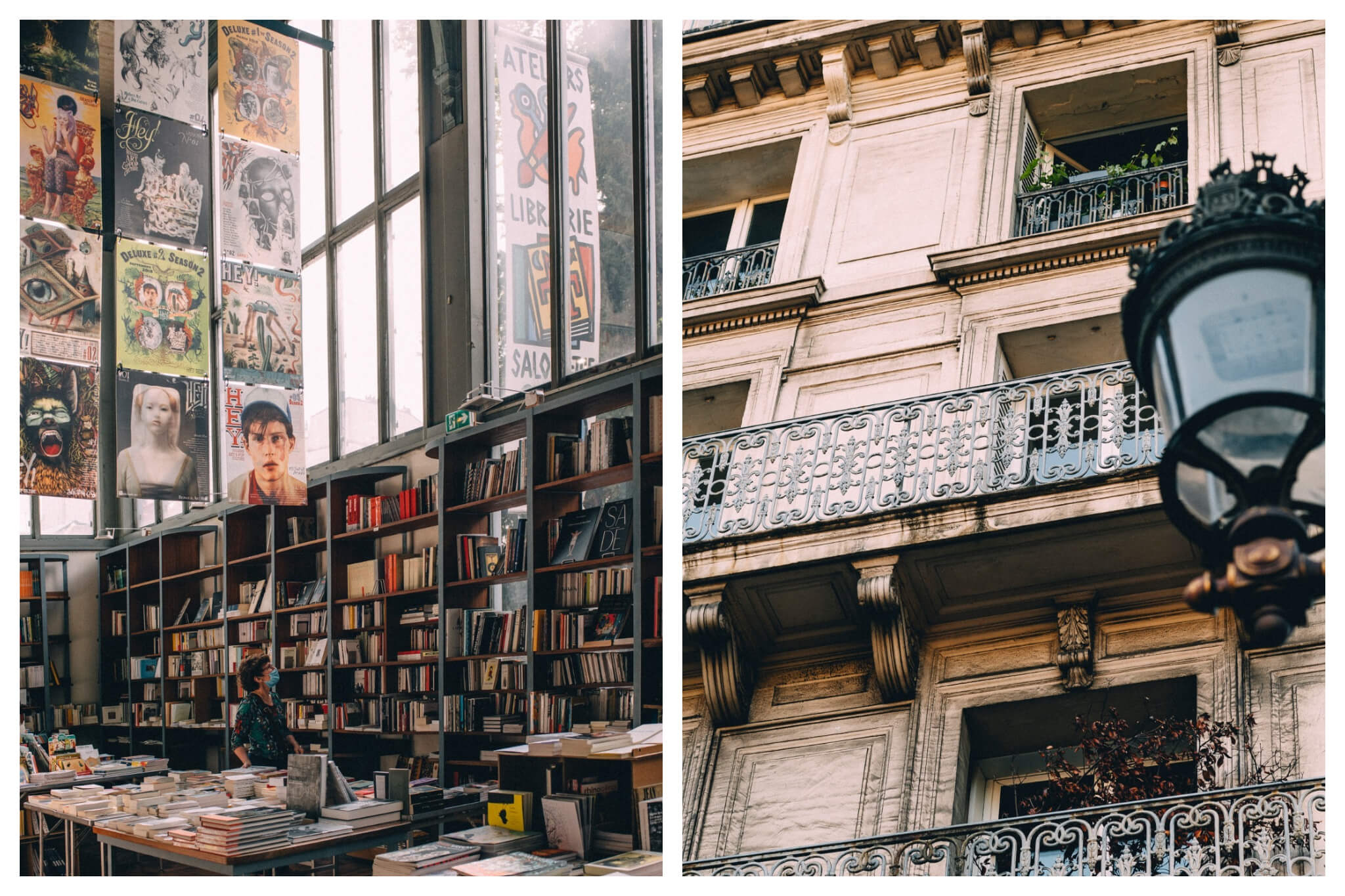 Left: A woman wearing a face masks browses through books at a store in Paris, Right: A shot of Parisian balconies as seen from the street.