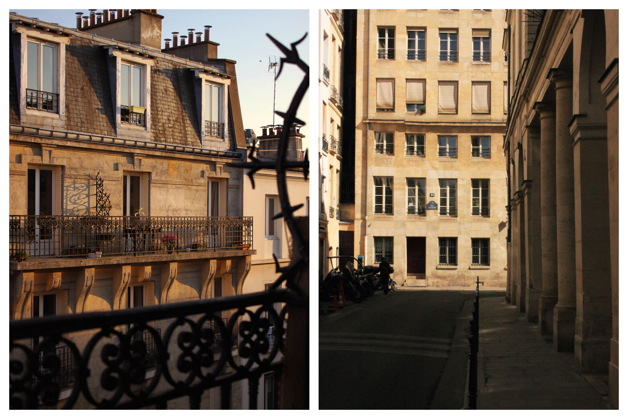 Left: The sun sets in Paris, casting shadows from Parisian apartment balconies, Right: An empty street in Paris during the quiet summer month of August.