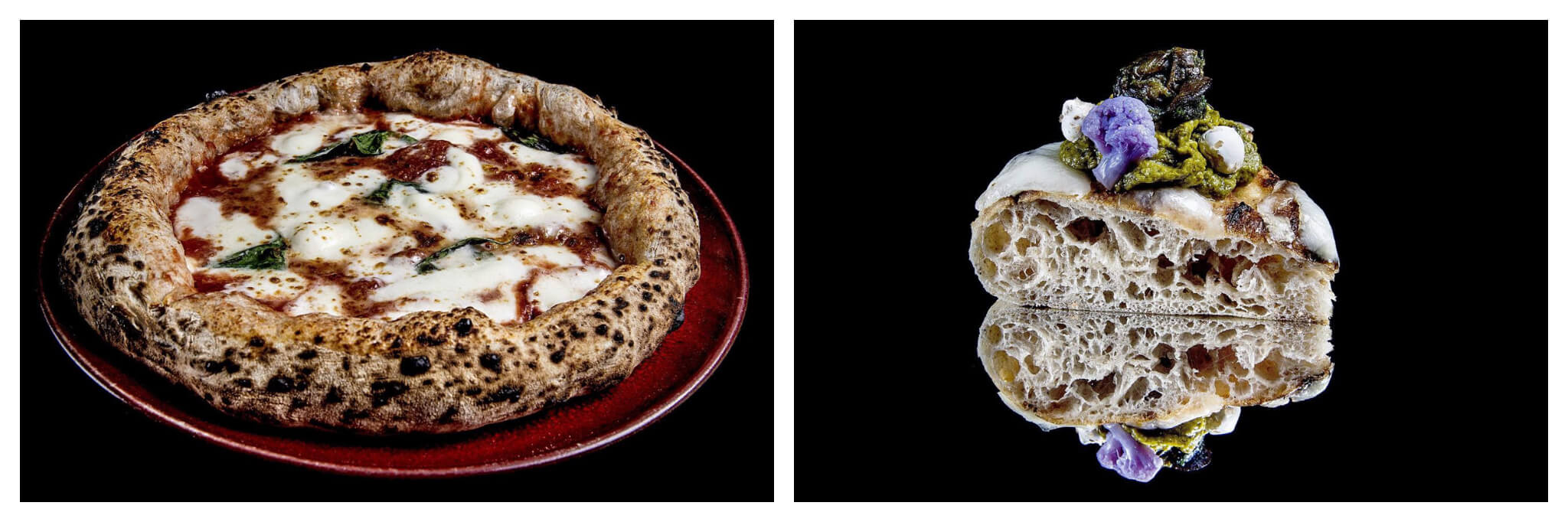 Left: a margarita pizza on a red plate with a black background. Right: a slice of thick dough pizza with a green pesto and purple broccoli topping on a black background.