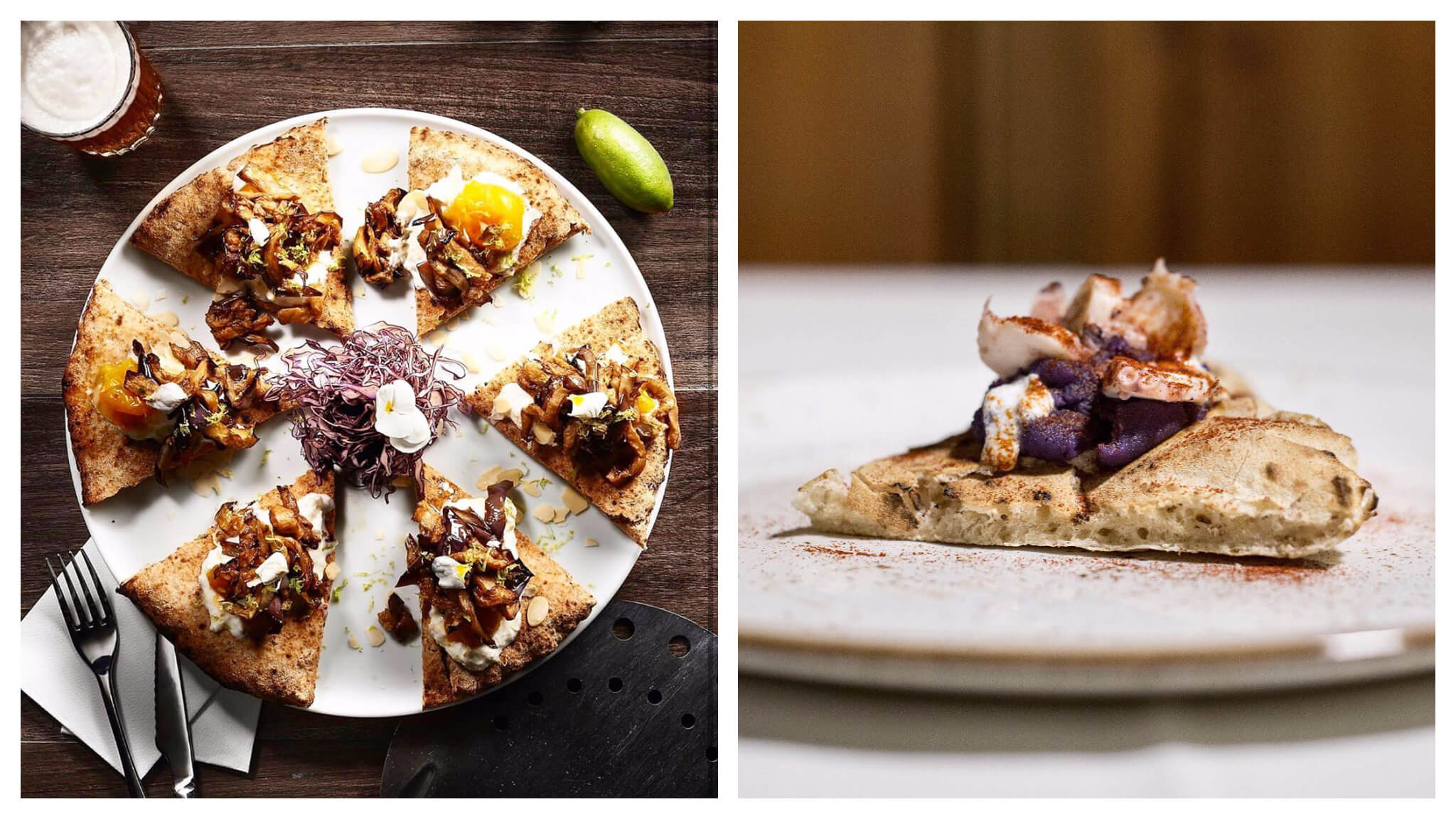 Left: a bird's eye view of individual slices of pizza on a plate with a knife and fork and a beer next to it. Right: a slice of pizza on a plate with a purple and white topping.