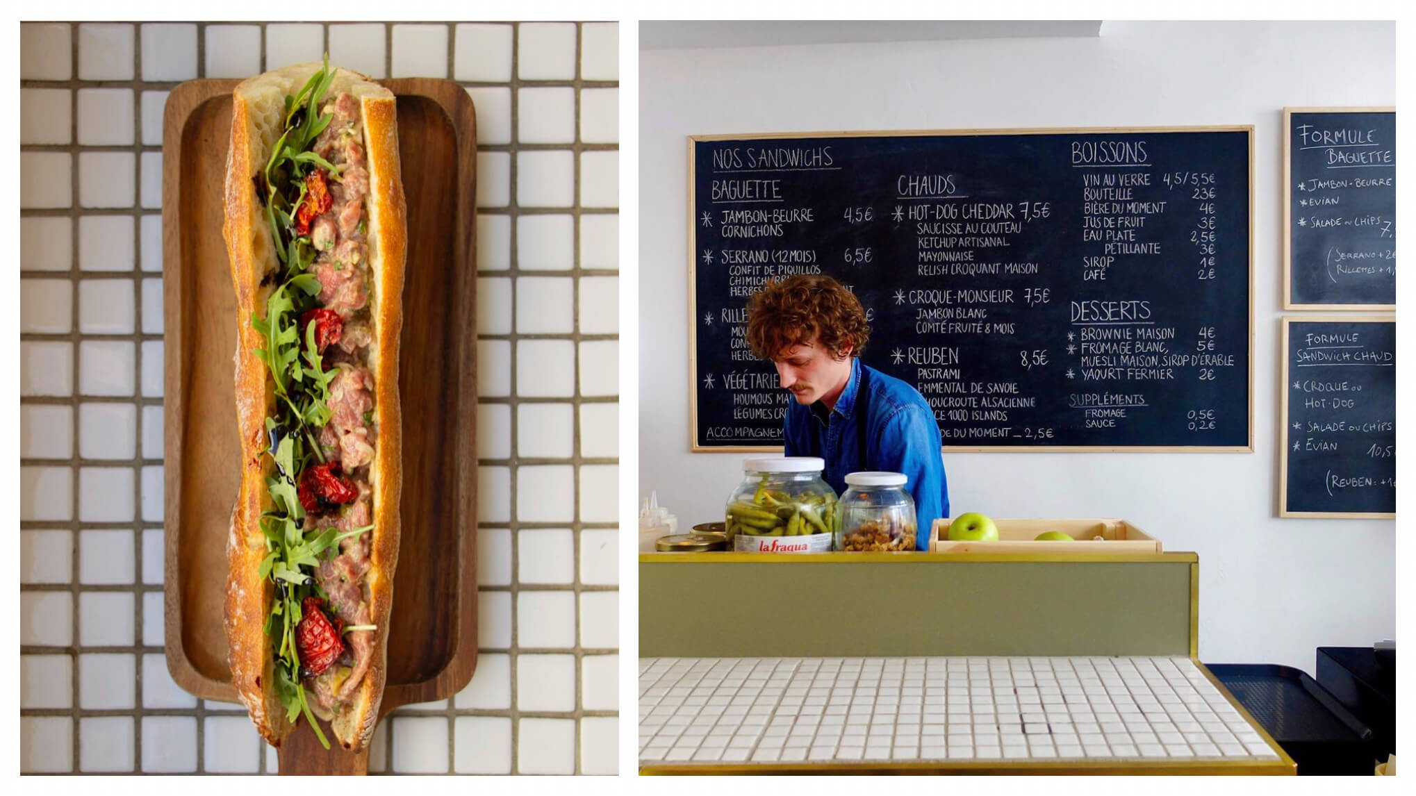 Left, a baguette sandwich in Paris. Right, sandwich counter in Paris with a blackboard in the background.