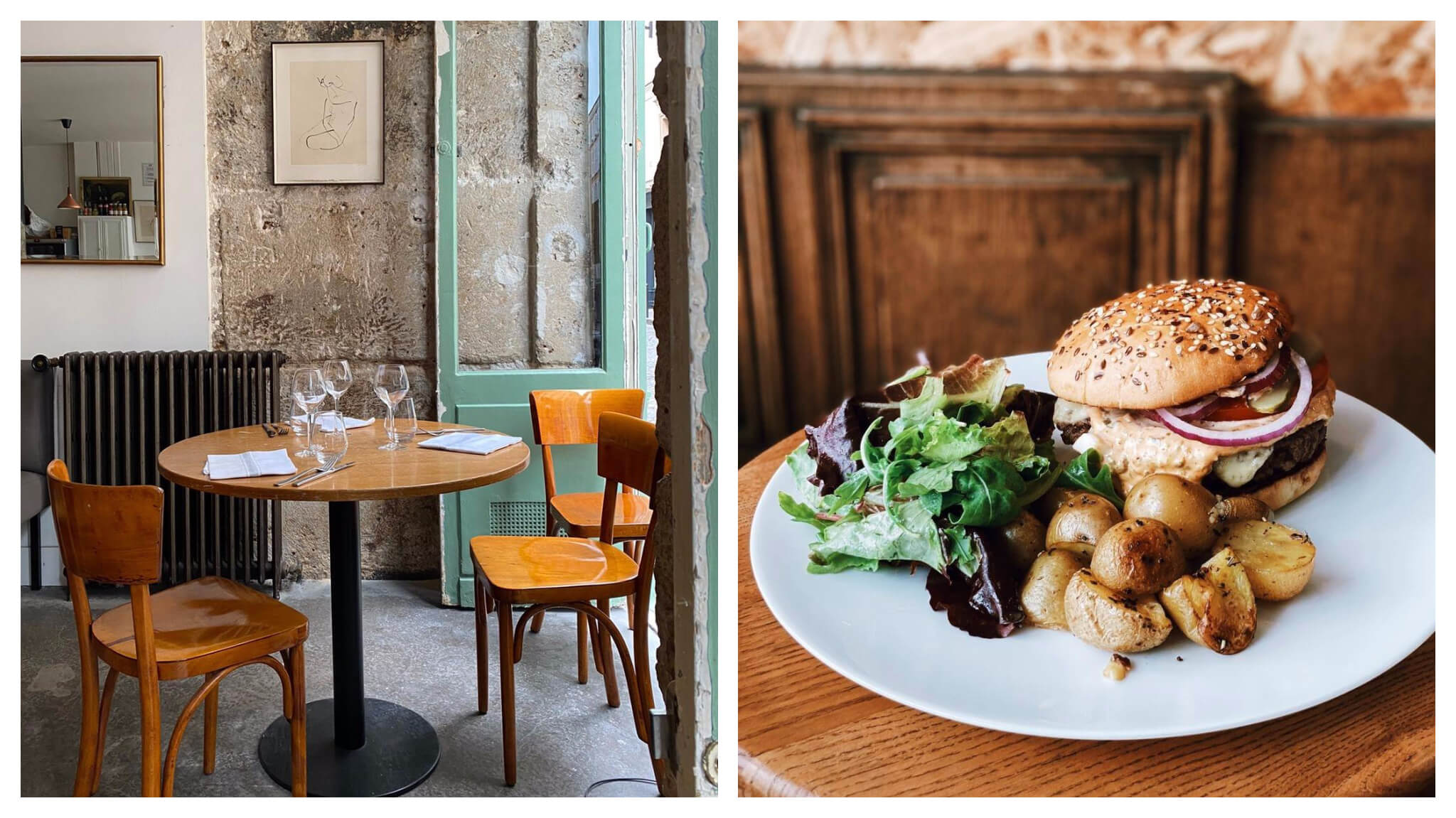 Left, a wooden table and chairs at a shabby chic style bistro in Paris. Right, an artisan cheese burger and fried potatoes on a white plate.