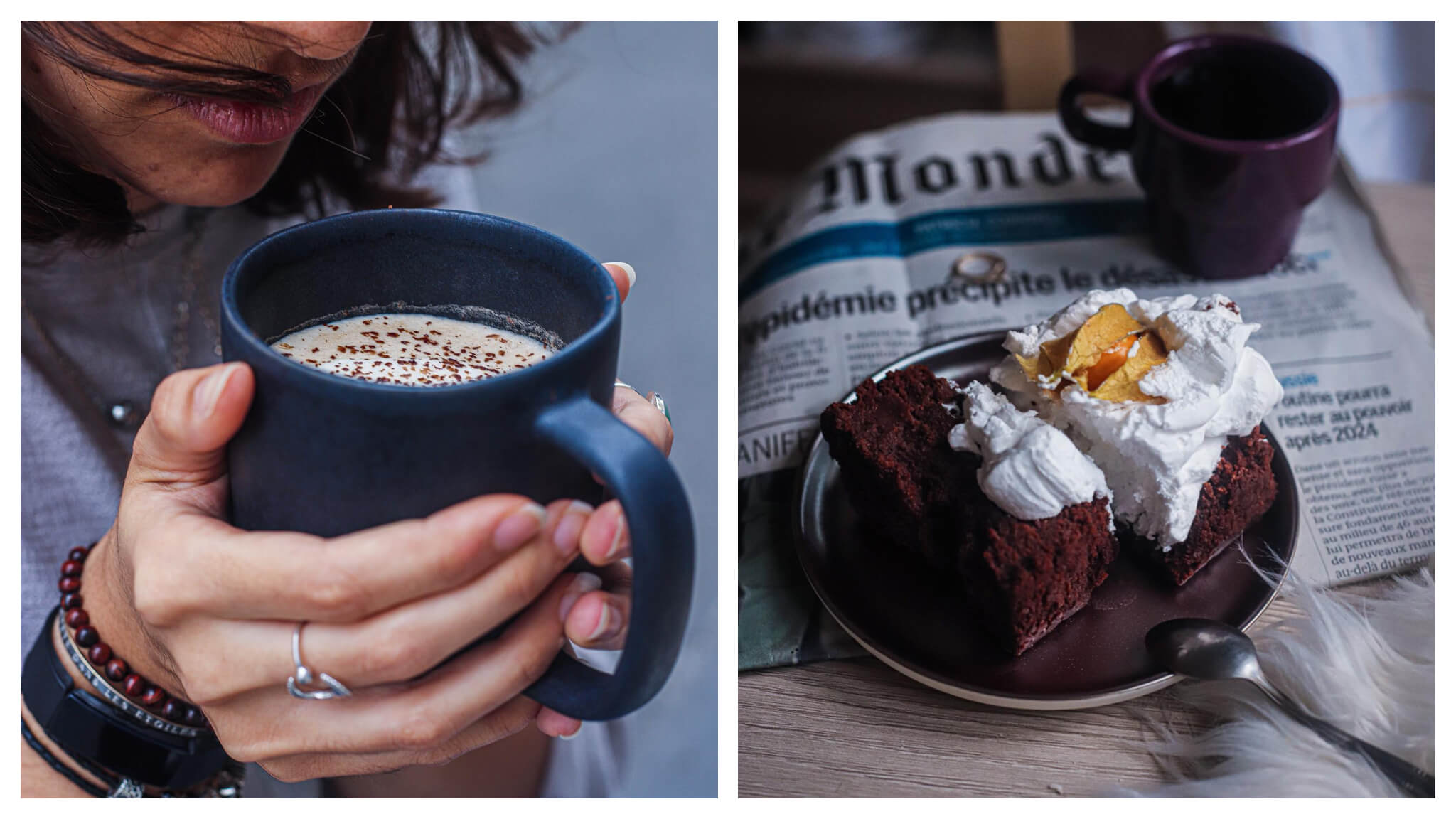 Left, a man holding a large cup of coffee. Right, a slice of chocolate cake with whipped cream and a Le Monde newspaper in the background on the table.