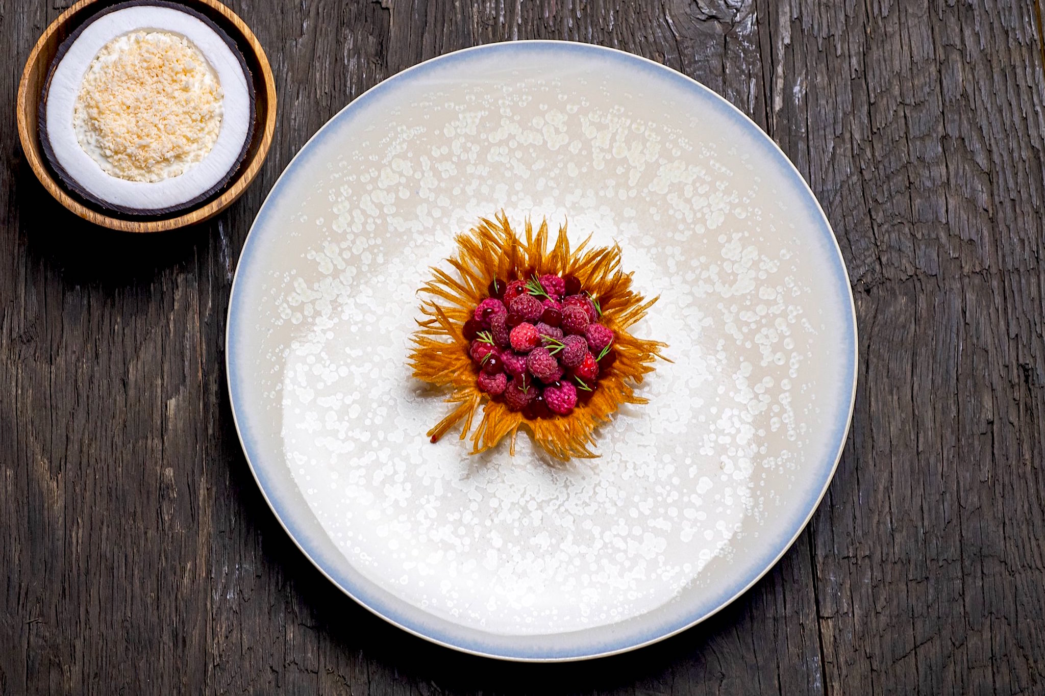 An overhead shot of a beautiful, bright raspberry dessert on a large white plate at Baumanière in Arles.