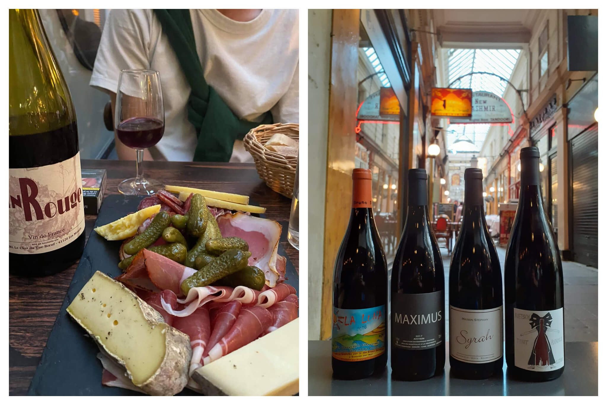 Left: A charcuterie plate of different cheeses, hams and pickles sat on a wooden table with a bottle and glass of red wine sat to the left.  Right: 4 bottles of wine sat on a bar inside a traditional Paris passage.