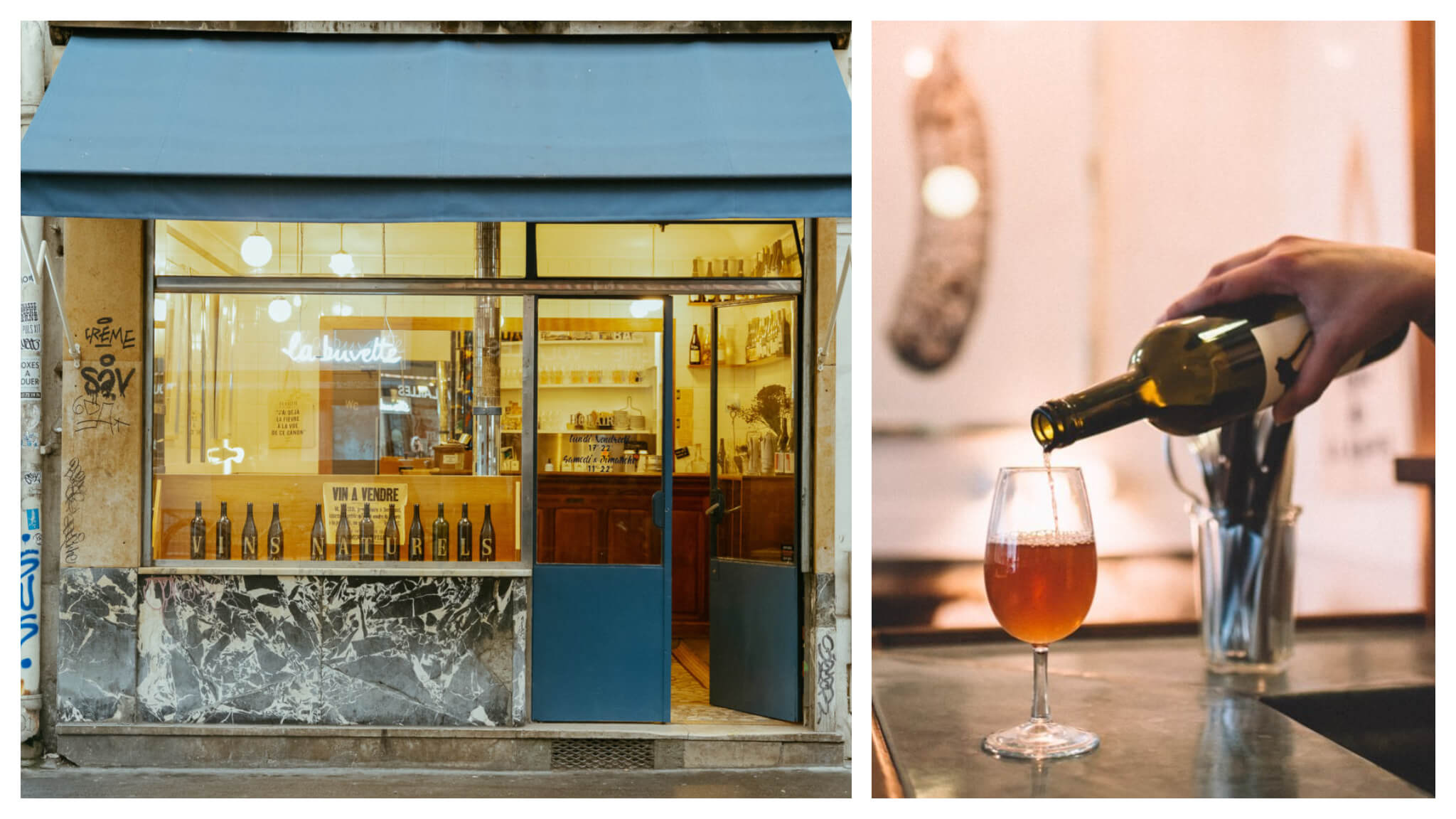 Left: The exterior of La Buvette. Right: a person pours an unidentifed brownish-orange liquid from what appears to be a wine glass.