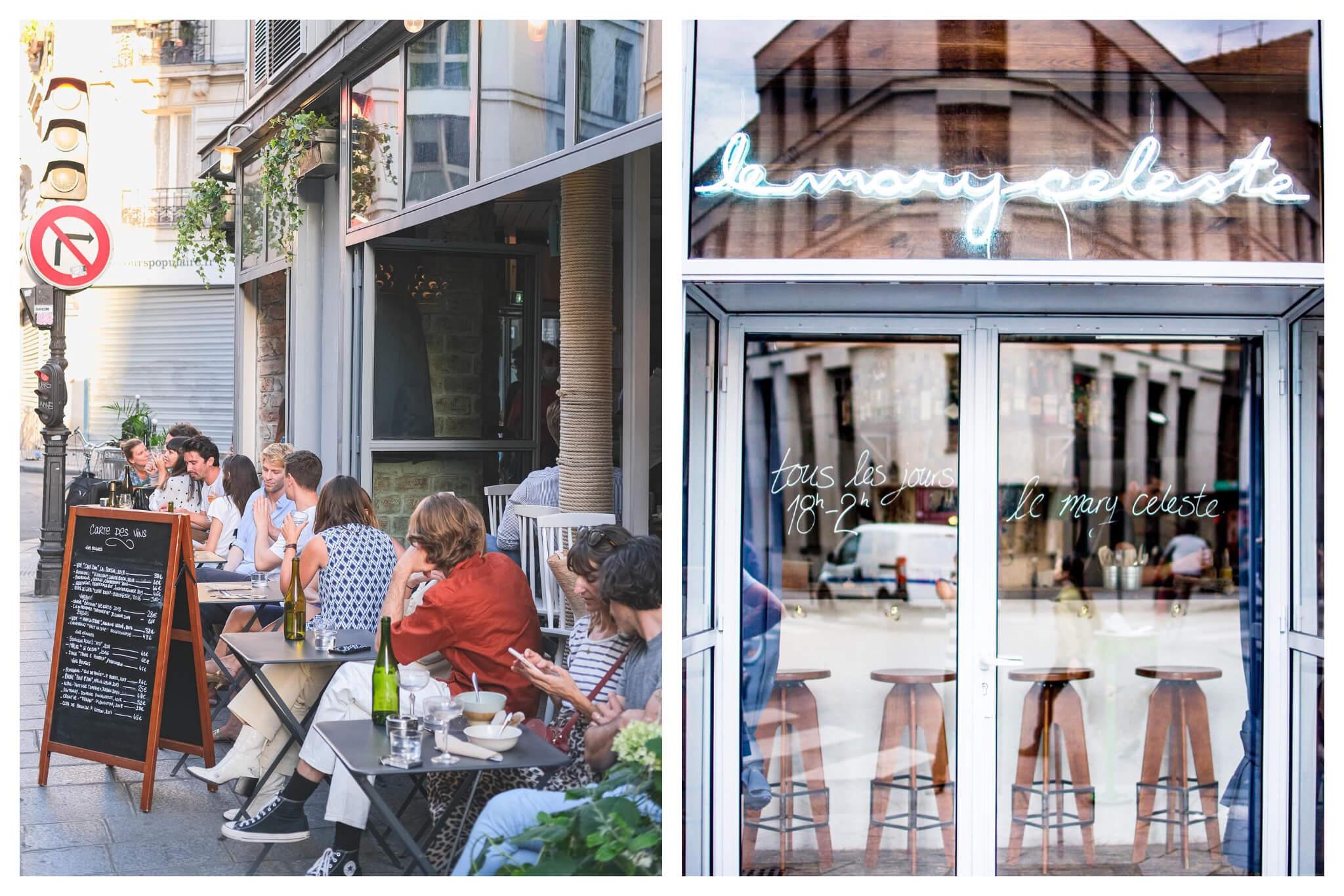 Le Mary Celeste Paris. The café exterior dining and a view inside.