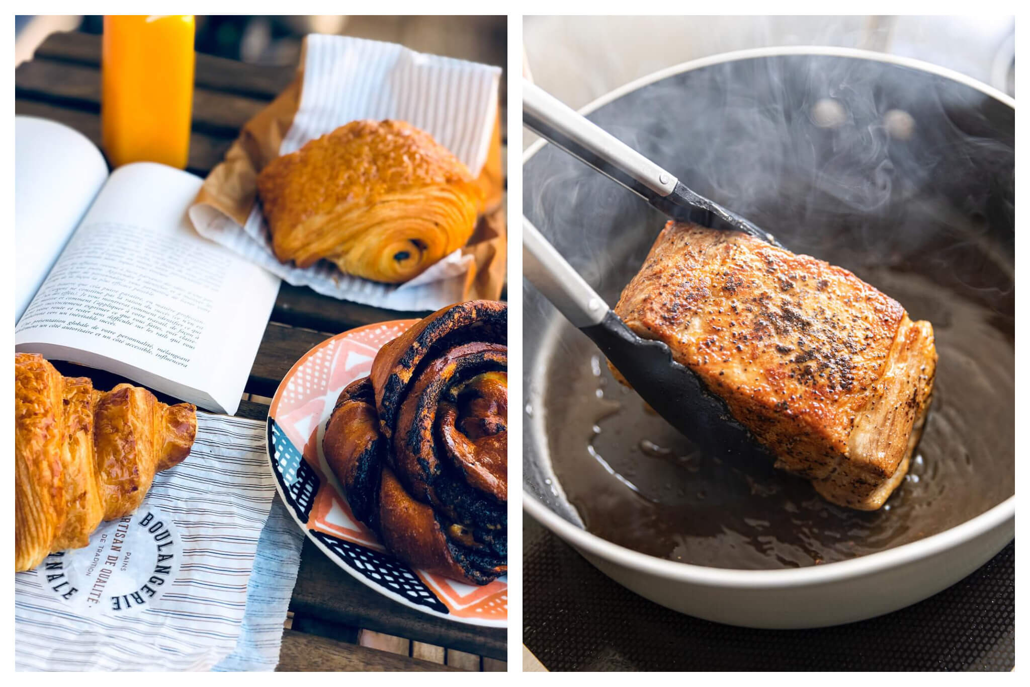 Left: Various pastries, including a pain au chocolat and croissant, sit atop a wodden table next to an open book and a glass of orange juice, Right: A piece of rish is cooked in a pan filled with hot oil, and a pair of tongs coming in from the left side of the frame are used to flip the meat in the pan.