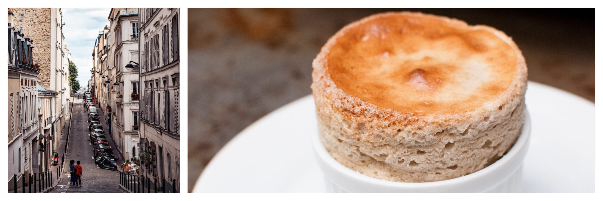 Left: Two people are seen walking closely side-by-side through Paris' hilly Montmartre neighborhood, Right: A freshly baked cake cooks upward out of a ramekin dish.