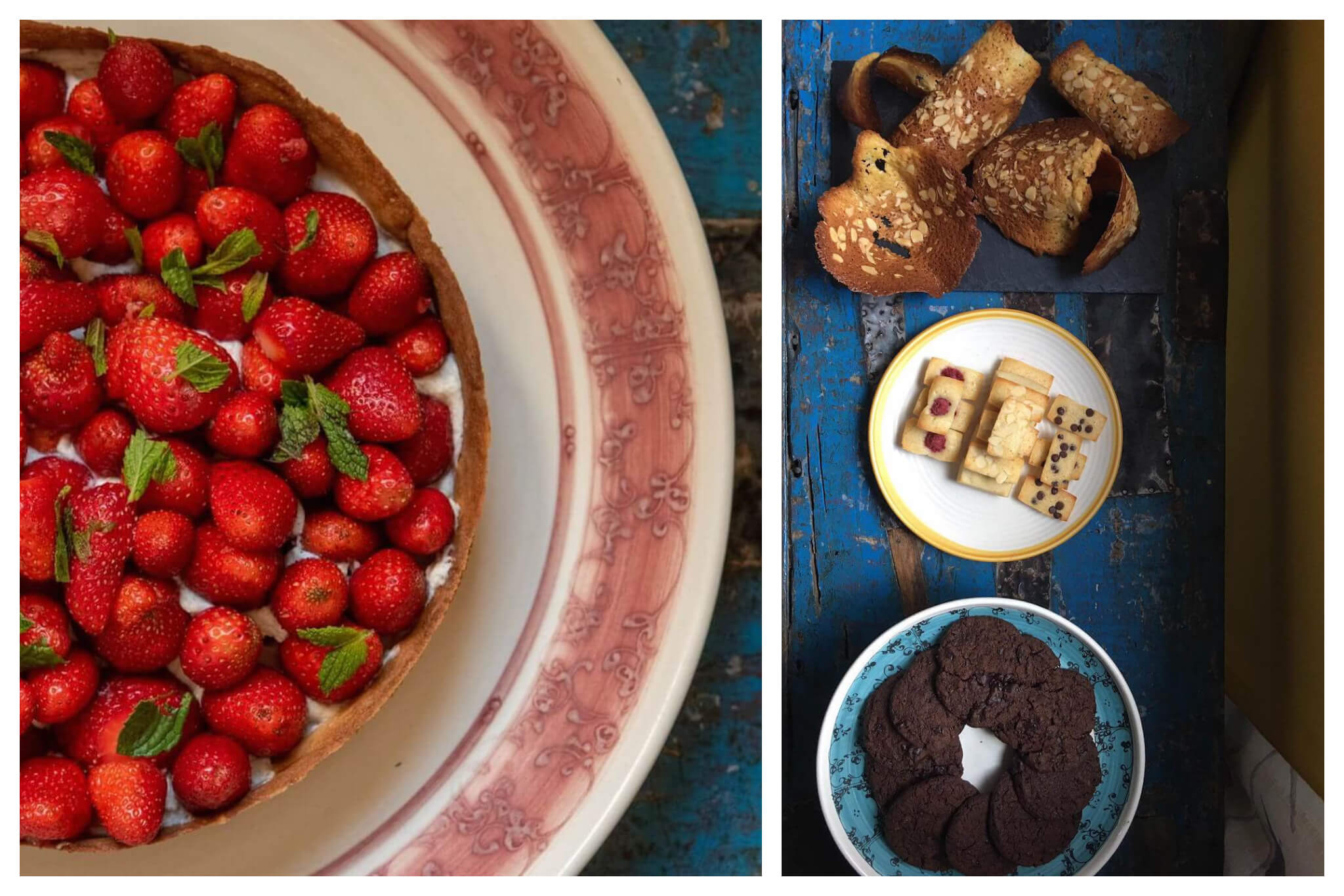 Left: An overhead shot of a bright red strawberry tart sitting atop a large white and red plate, Right: An overhead shot of various desserts and pastries, including chocolte cookies and almond pastries.