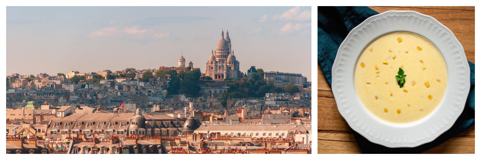 Left: A wide shot of a view of Parisian rooftops and the Sacre-Coeur at the top of Montmartre hill at sunset, Right: An overhead shot of a larg bowl of yellow soup with a sprig of herbs in the middle, plated in a detailed white bowl and placed on top of a blue towel.
