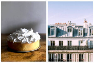Left: A cake, freshly baked and cooled, sits on a tray with a pile of frosting on top, ready to be spread on the cake, Right: The view of the front of the top few stories of a Parisian apartment building on a bright day.