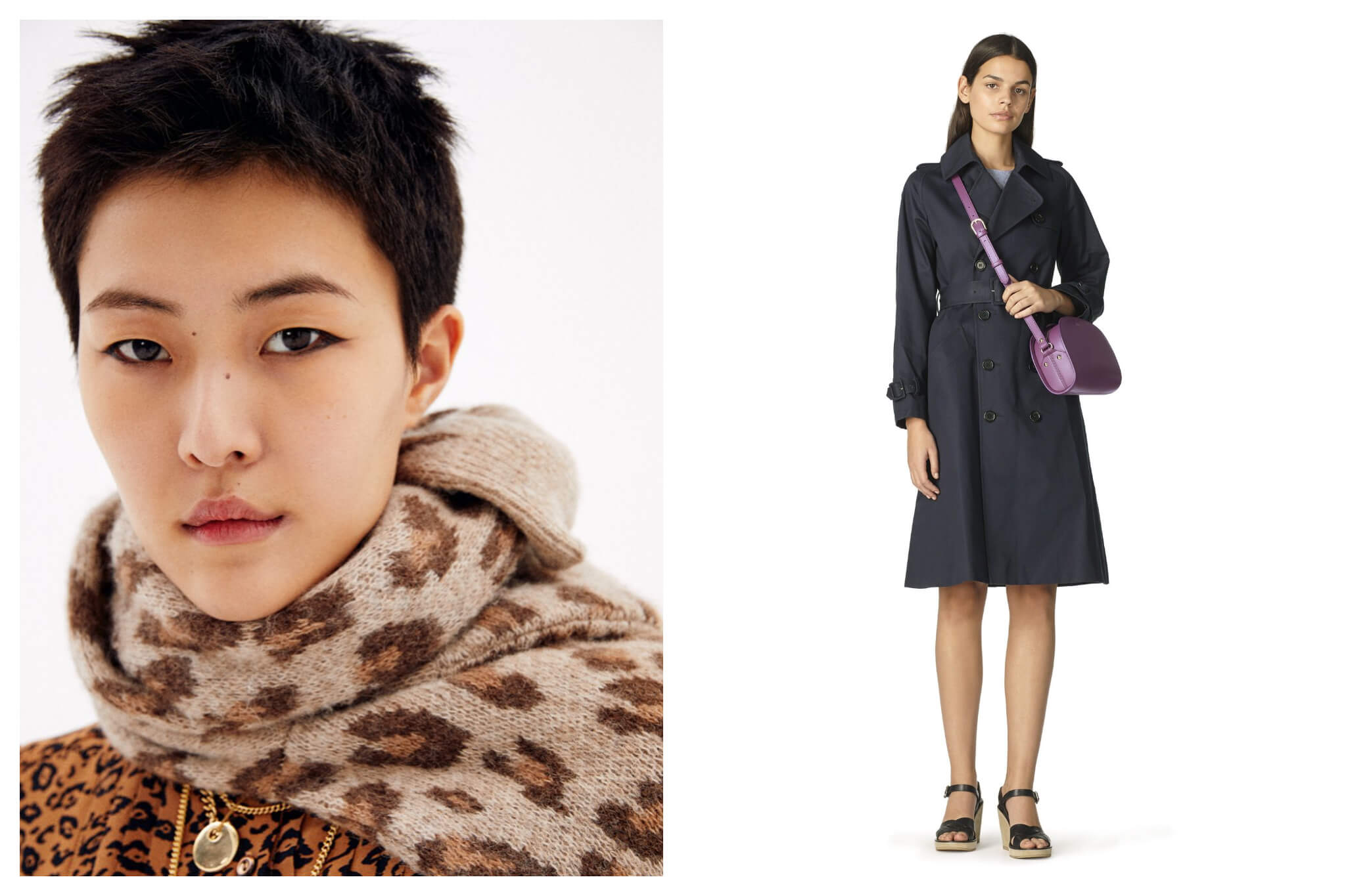 Left: A female model with short black hair wears winter scarf and sweater in contrasting animal prints. Right: A female with long black hair models a black trench coat with a purple handbag draped across her diagonally.
