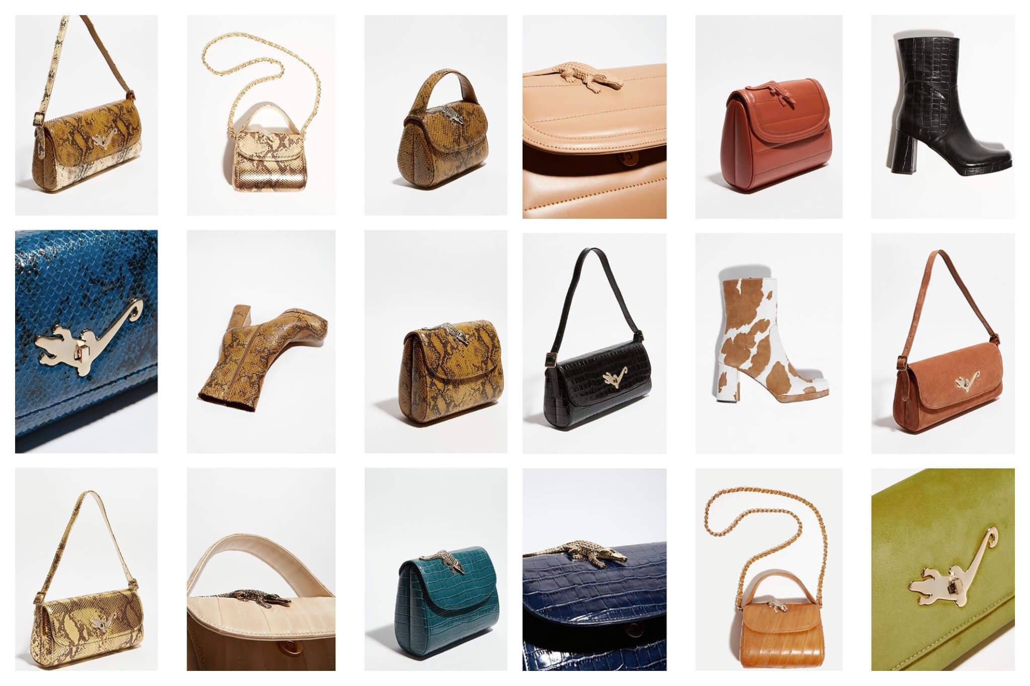 A montage of different small handbags and boots.