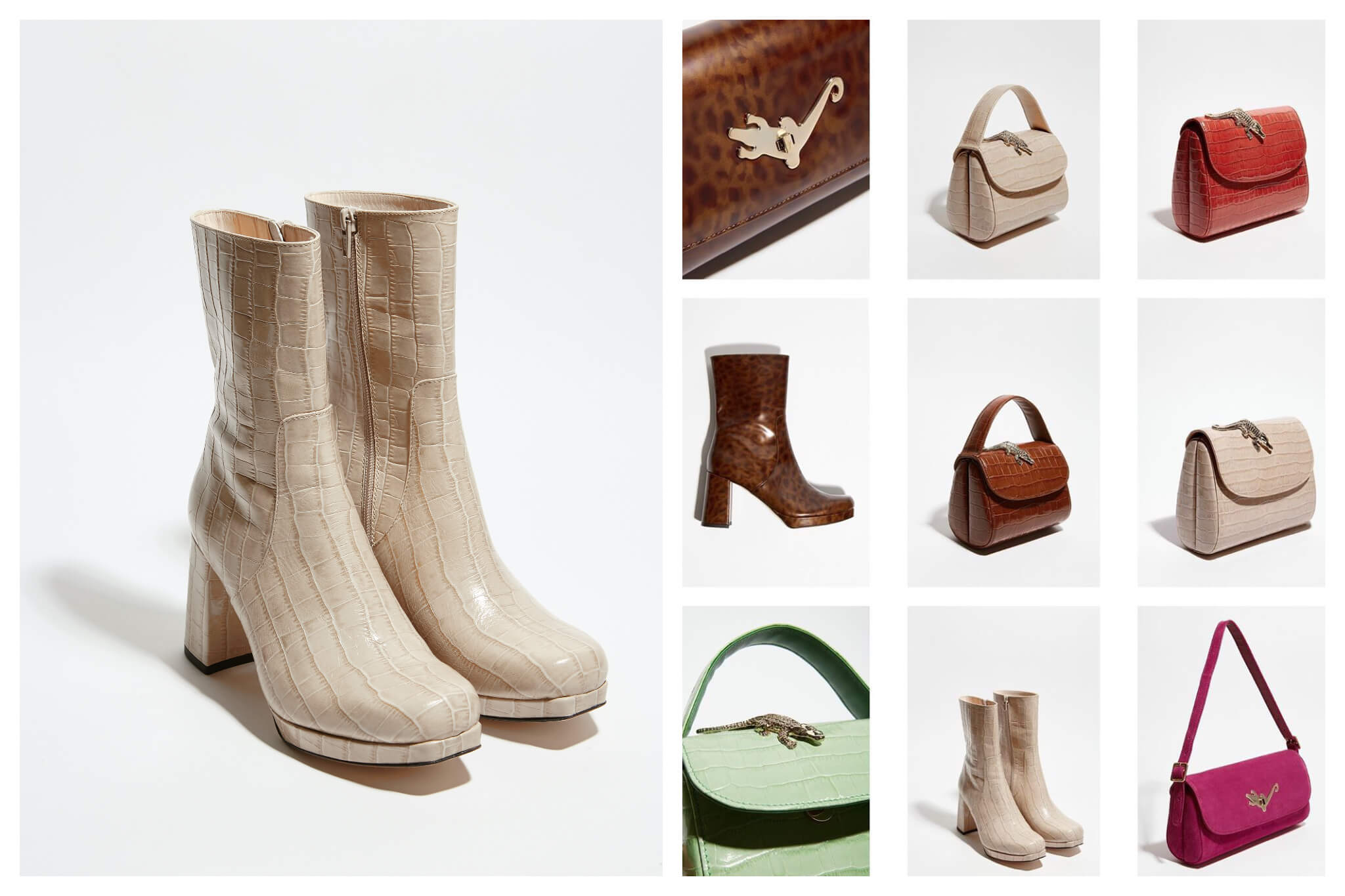 Left: a pair of beige boots.  Right: Assorted accessories including small purses and boots.