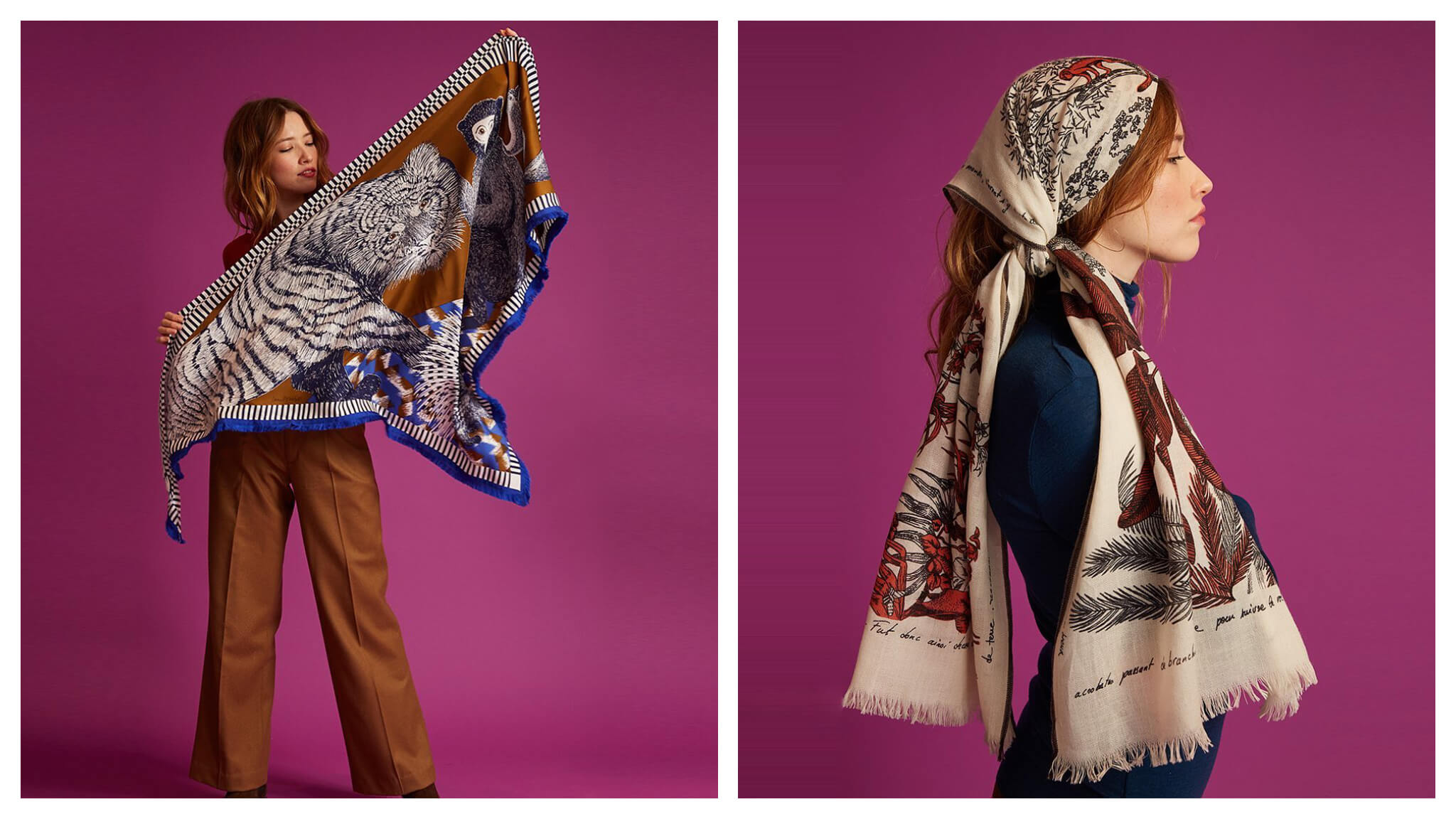 Left: A model stands against a purple background with an animal print scarf opened up in her hands Right: A model pictured in profile with a scarf tied around her head in a bohemian style.