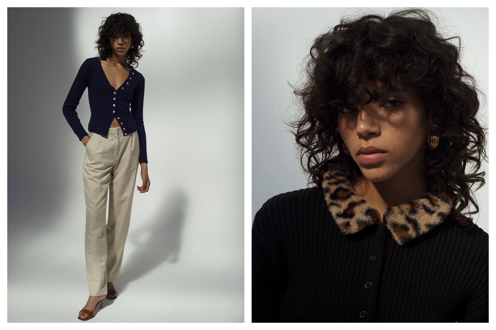 Left: a Model with curly black hair wears khaki trousers and a v neck dark sweater. Right: The same model has a black sweater on with an animal print collar, and is photographed closed up.