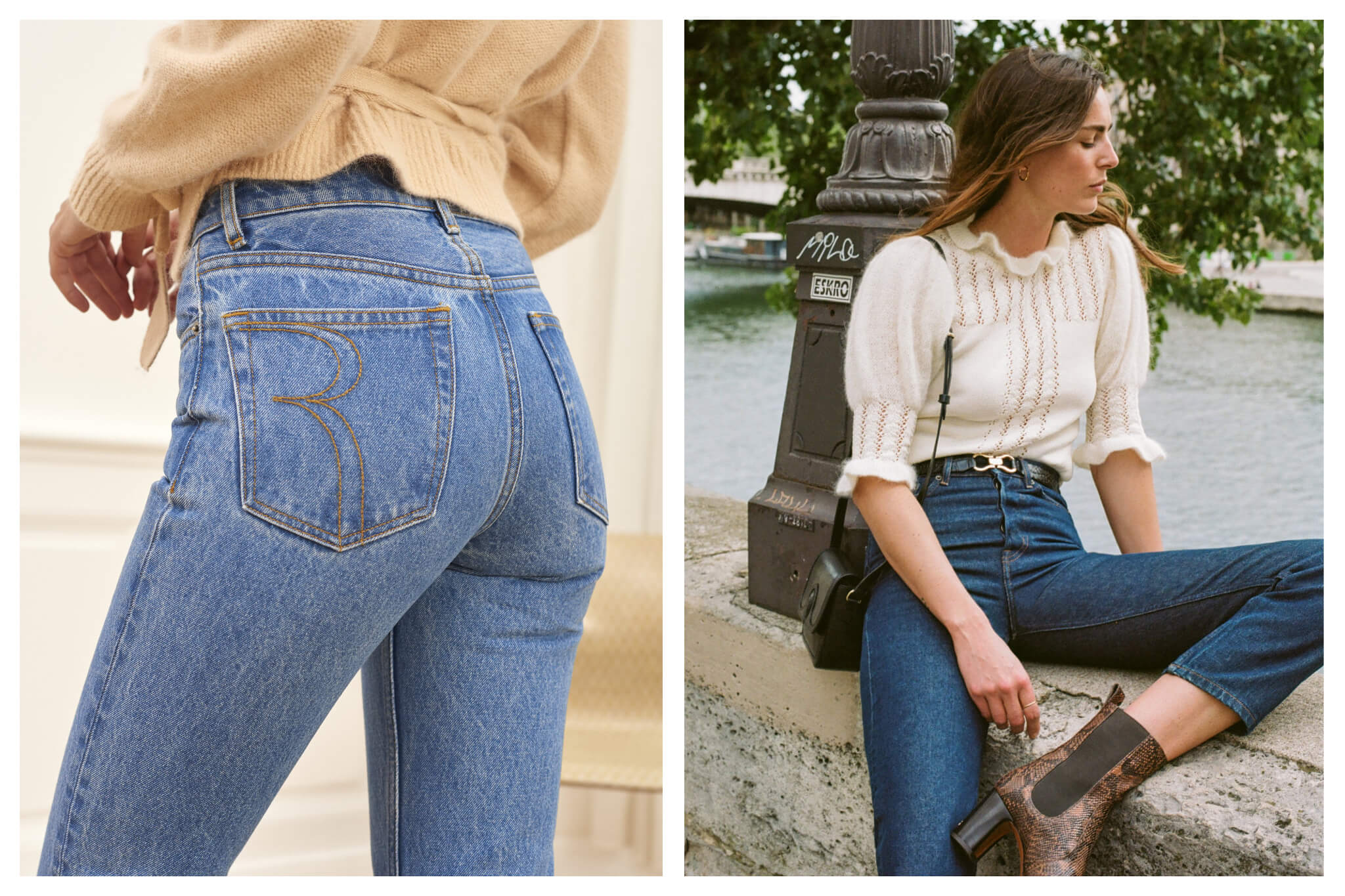 Right: a model's backside dressed in light blue jeans and a peach sweater. Left: a woman with long brown hair sits along the Seine in front of a lamppost dressed in blue jeans, a ruffled cream coloured shirt, and a small black hand bag on her shoulder.