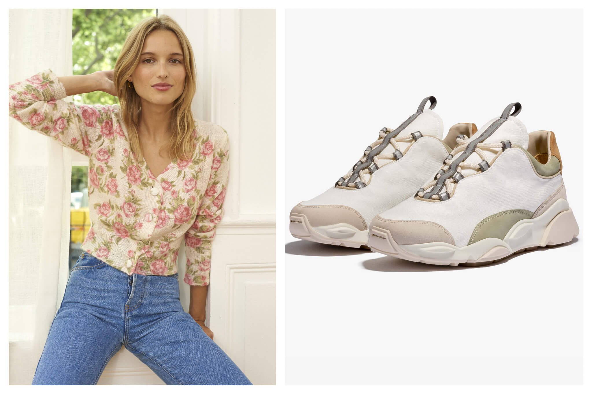 Right: A model with medium length blond hair wear a floral print sweater and blue jeans. Left: A pair of beige sneakers.
