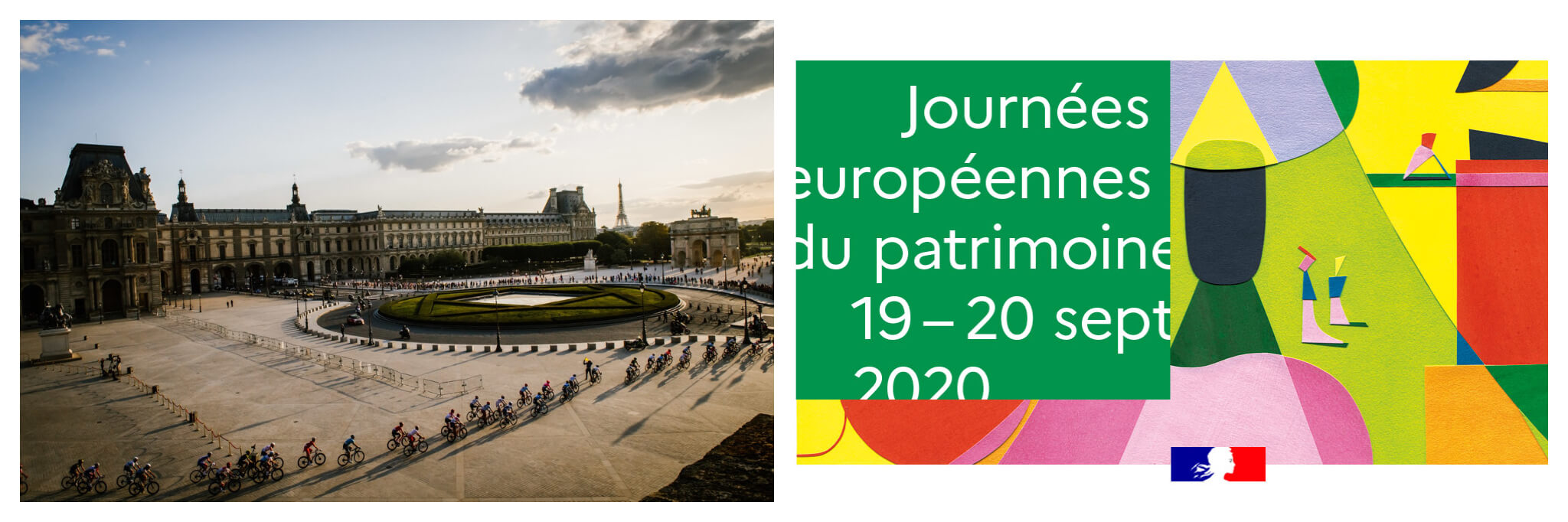 On the left is a view of Paris including the Louvre and the Eiffel Tower in the background. Cyclists ride through the courtyard of Louvre during the Tour de France. On the right is a brightly colored flyer for Journées européennes du patrimoine.