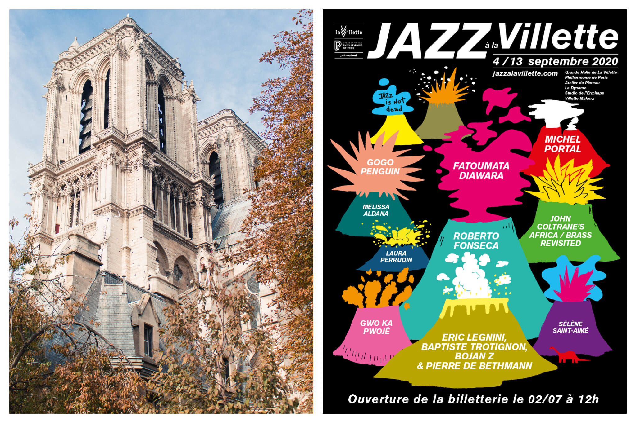 On the left there is a photo of Notre Dame church in Paris, with trees surrounding it filled with autumnal leaves. The photo on the left is a flyer for Jazz à la Villette lasting from 4-14 September 2020. There are drawings of 11 volcanoes underneath the text in white - each a different bright colour and containing the names of the artists performing.