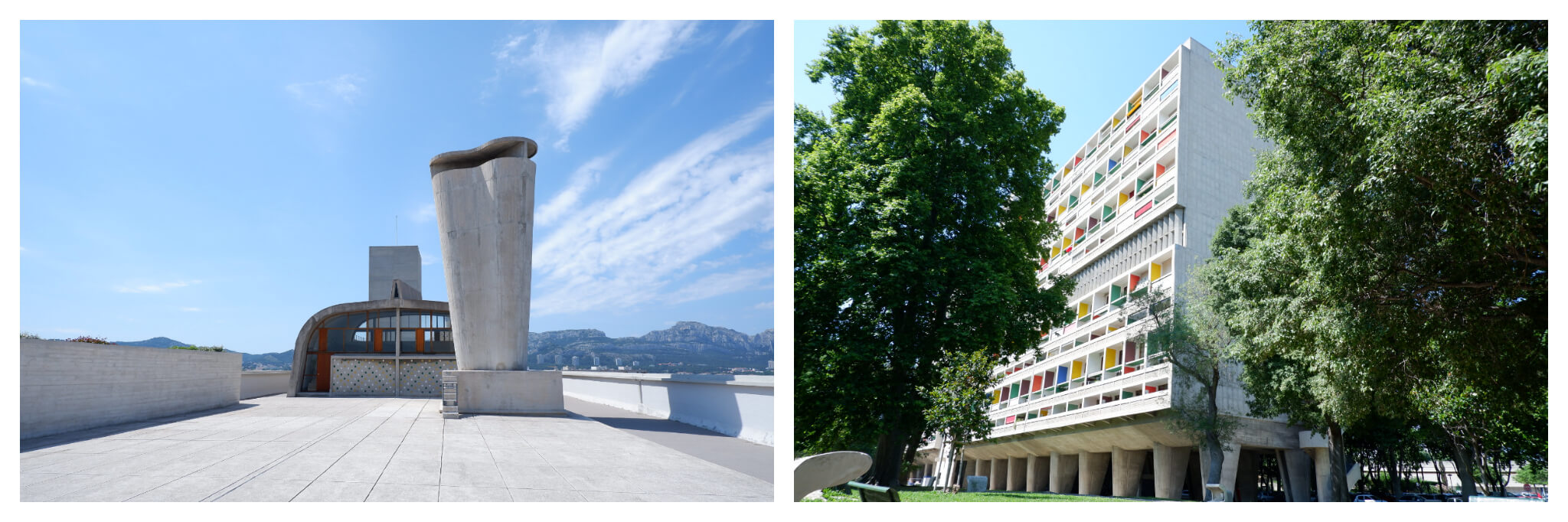"""Right: The industrial rooftop of Cité Radieuse looking out over the city of Marseille. Left: The outside of Le Corbusier's white and multi coloured """"Unité d'Habitation"""""""