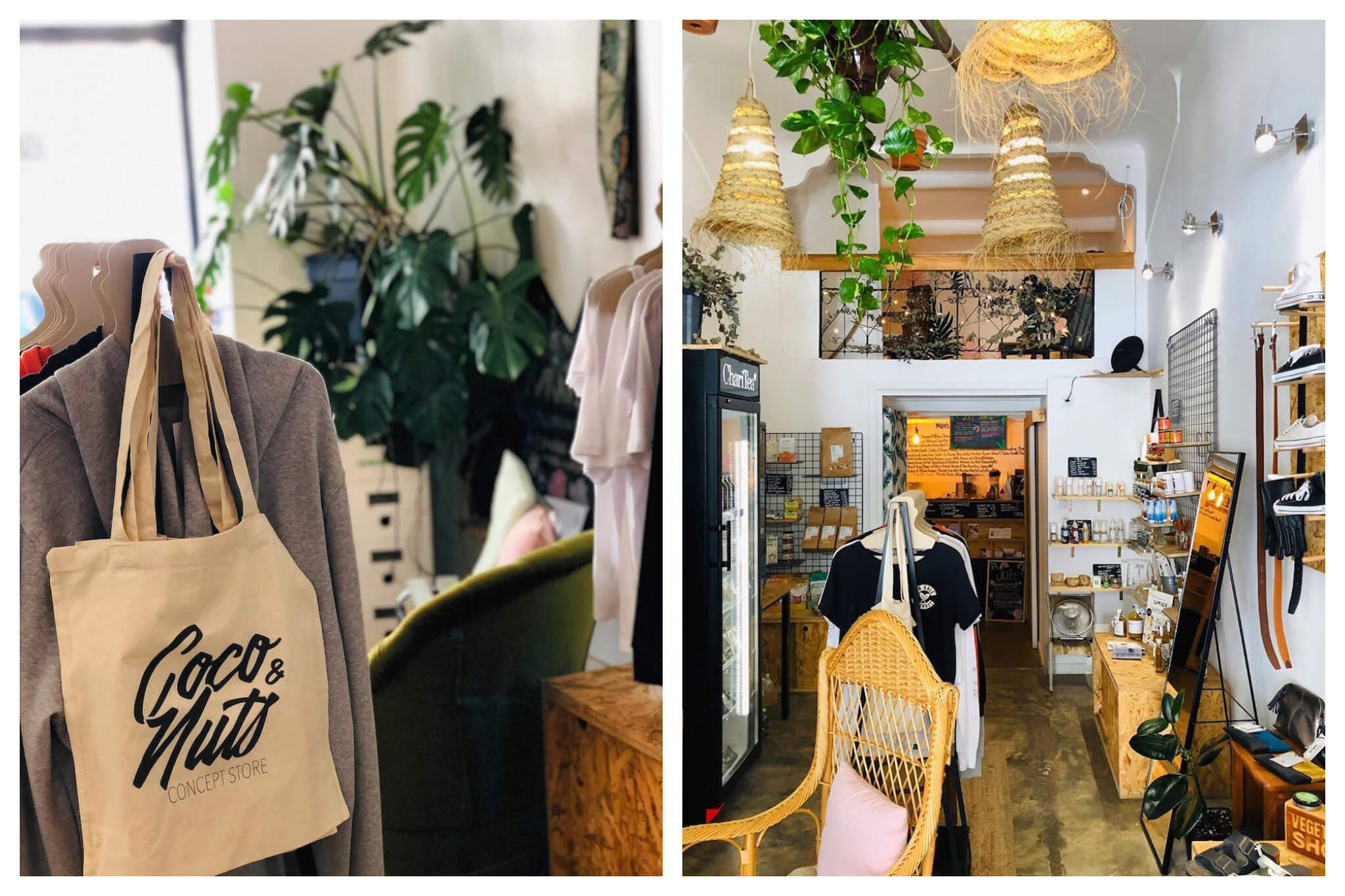 Left: a close up view of merchandise in Coco and Nuts Marseille shop, including a tote bag, t-shirts and a plant. Right: Another view of the shop's interior but from further away.