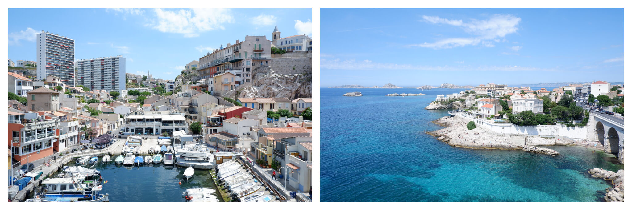 Left: A crowded port in Marseille  Right: The crystal blue Mediterranean Sea near Marseille on a sunny day.