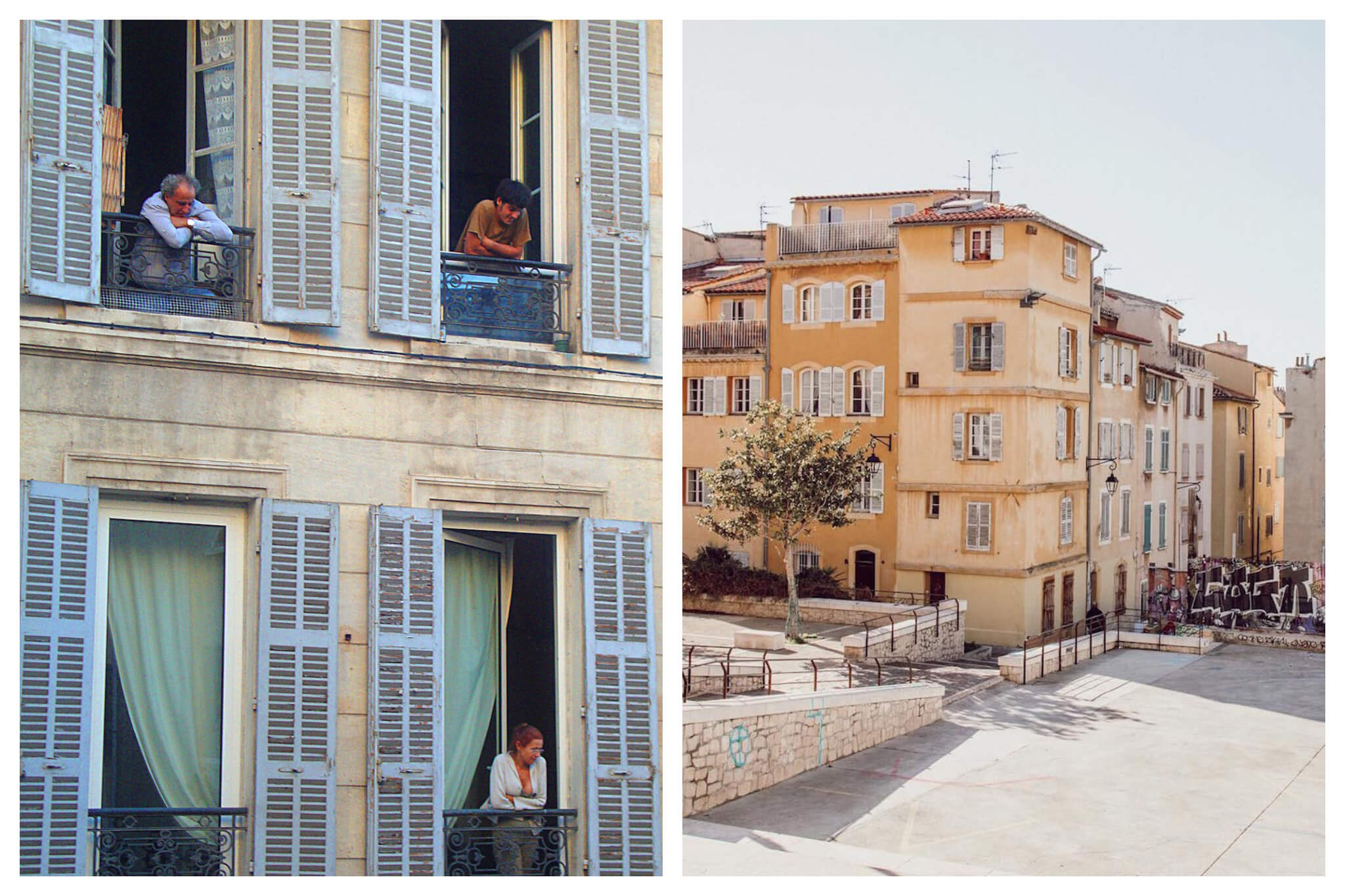 Left: Marseille residents stand at that their window sills people watching the scenes below Right: Buildings in a village in the South of France