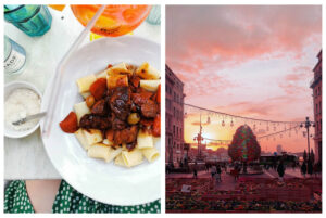 Left: A plate of meaty pasta sits atop a marble table, next to grated parmesan and an aperol spritz at Court Circus in Marseille, Right: The popular Canebière in the middle of Marseille at sunset