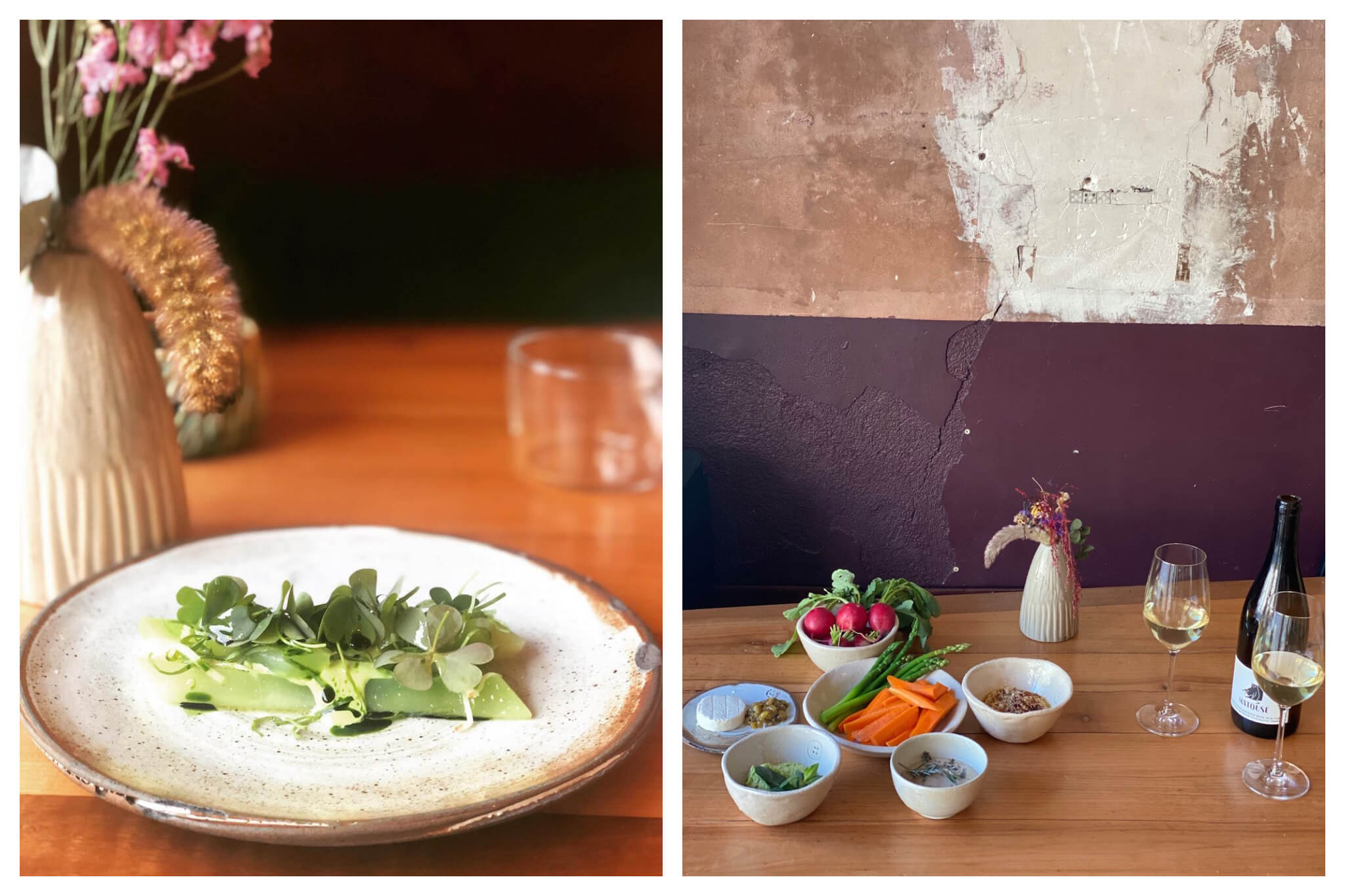 Left: a meal of artfully plated green vegetables. Right: small bowls of crudites including radishes, carrots, as well as cheese and nuts, all next to a small vase of flowers and a bottle + two glasses of white wine.