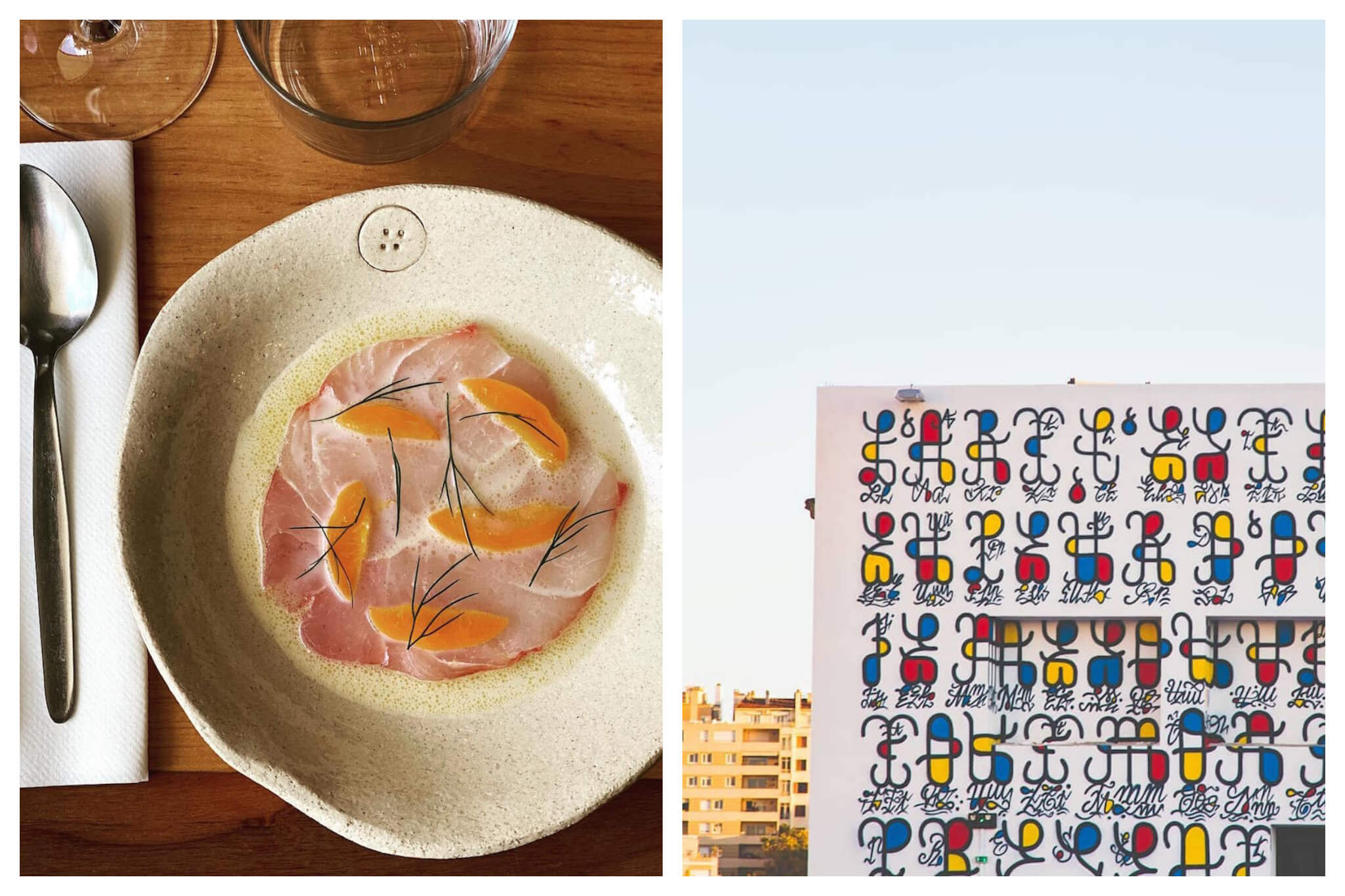 A fancy plated dish of gastronomy at La Mercerie: some sort of fish tarter with orange segments sat atop and sprigs of herbs. On the right is a colourful mural  of abstract figures which seem to represent persons and how they interact in the community.