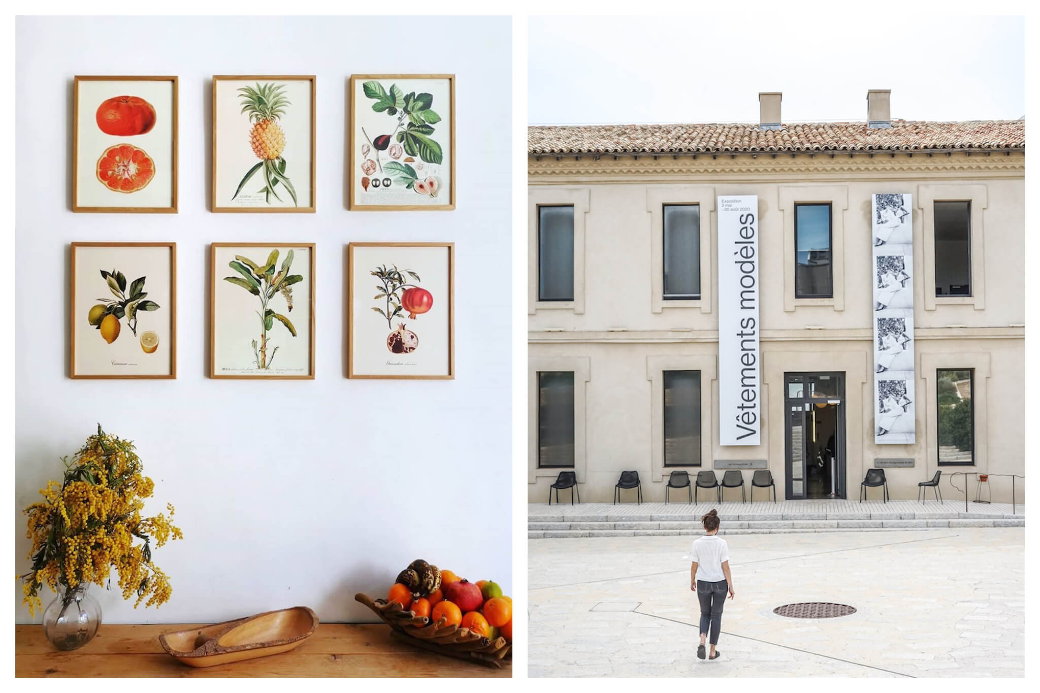 Left: a wall inside Marseille's Trois Fenêtres restaurant, decorated with six small framed watercolours of various vegetables. Underneath is a wooden table with dried flower and a bowl of fruit. Right: The outside of the MUCEM in Marseille.