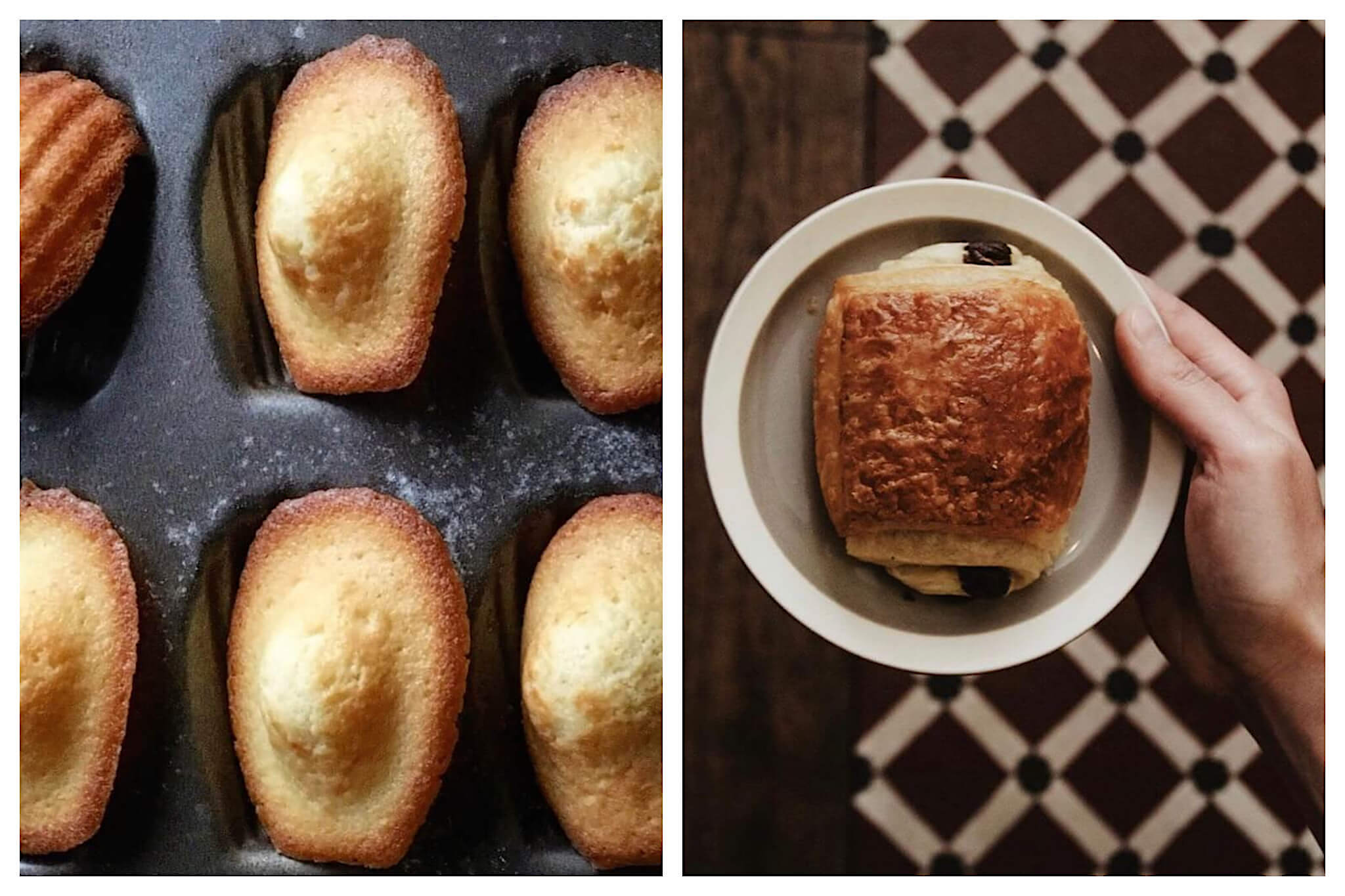 Left: Freshly baked Madeleines, light on the top and golden brown on the bottom, sit in the Madeleine cooking dish they were just baked in, Right: A person holds a small plate, atop of which is a large pain au chocolat.