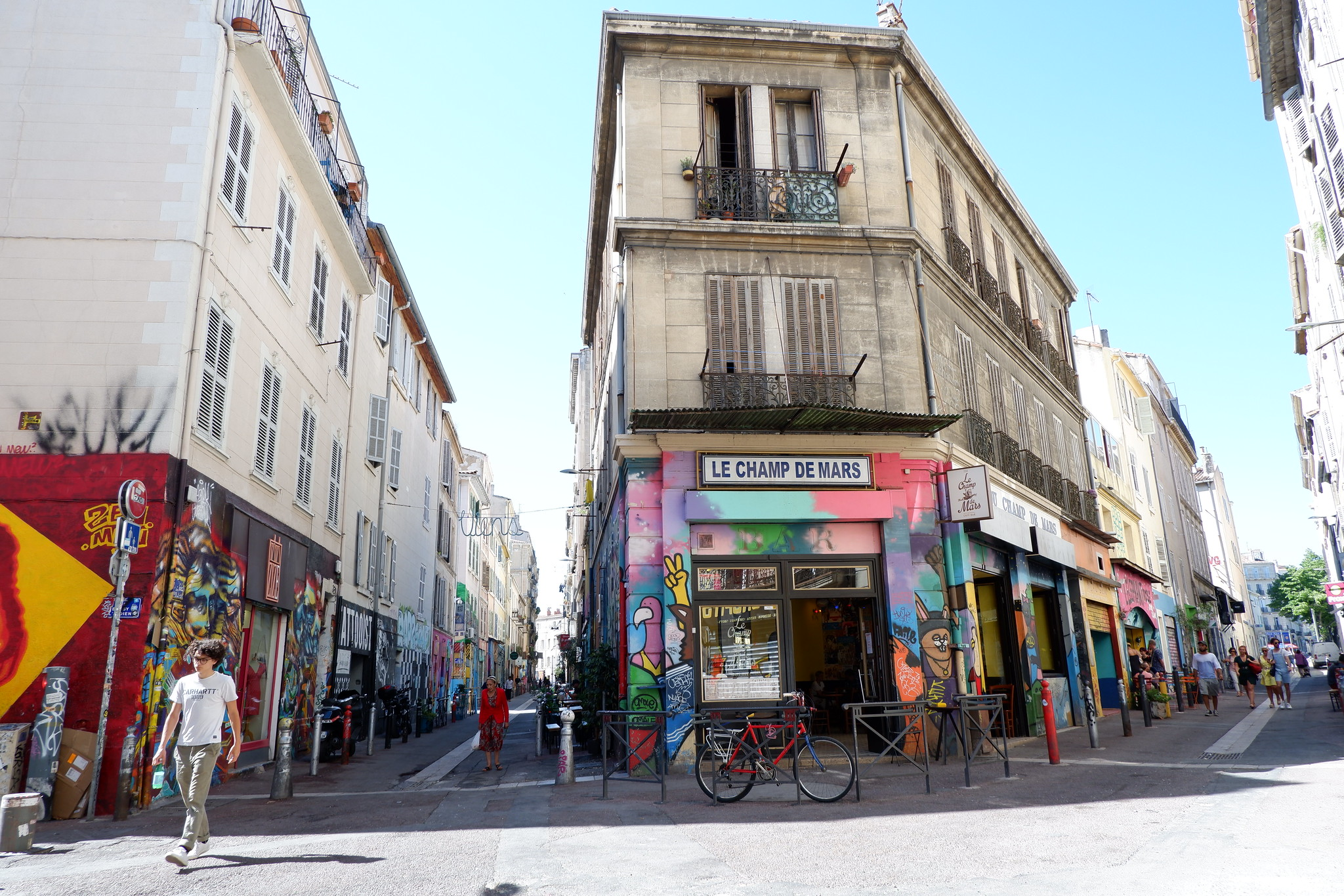 A colourful street block on Marseille's La Plaine.