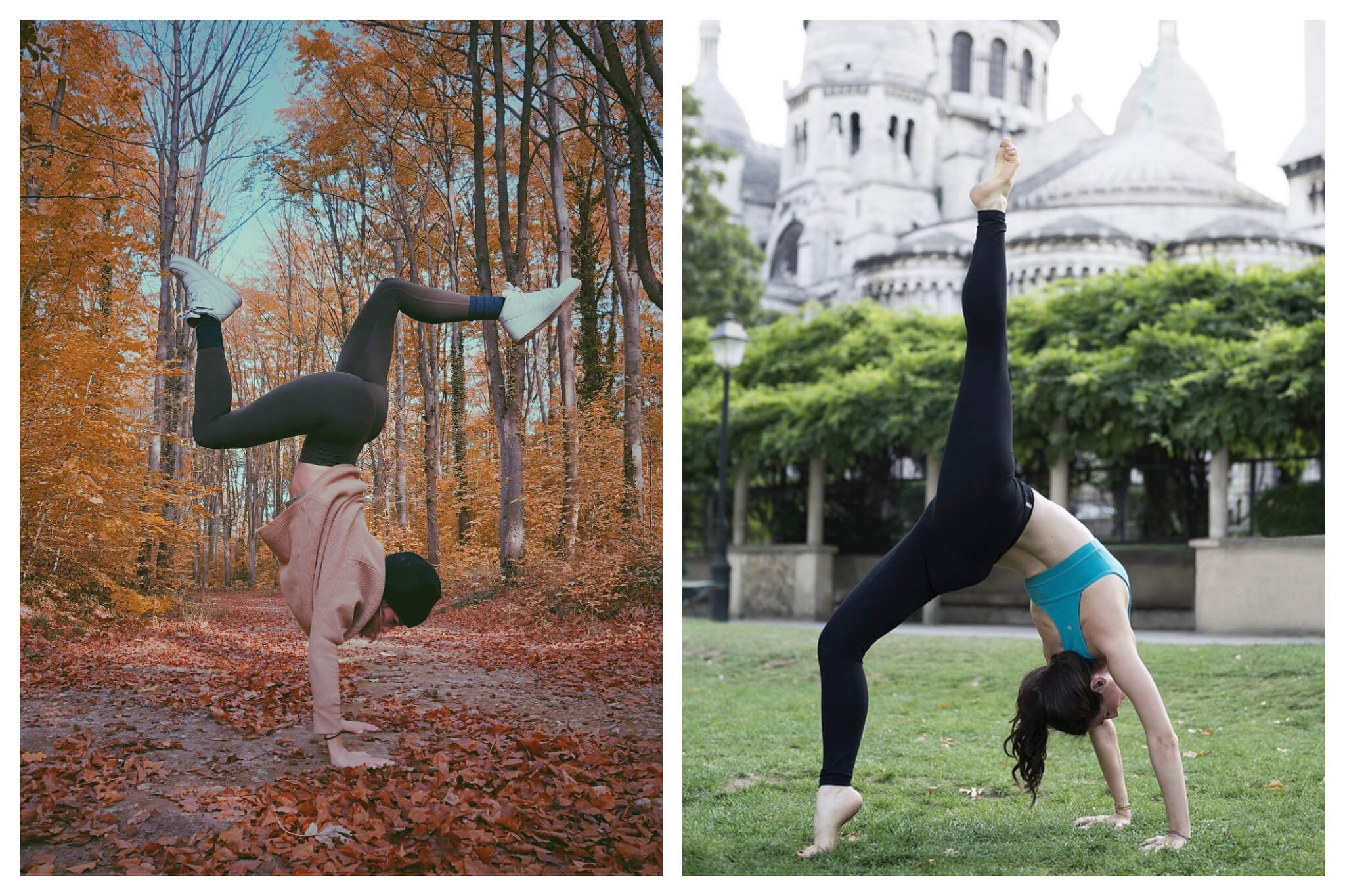 Left: a woman does a handstand in a forest during the autumn. Right: a woman does a backbend with one leg sticking up vertically in the ai, in front of the Sacre Coeur.