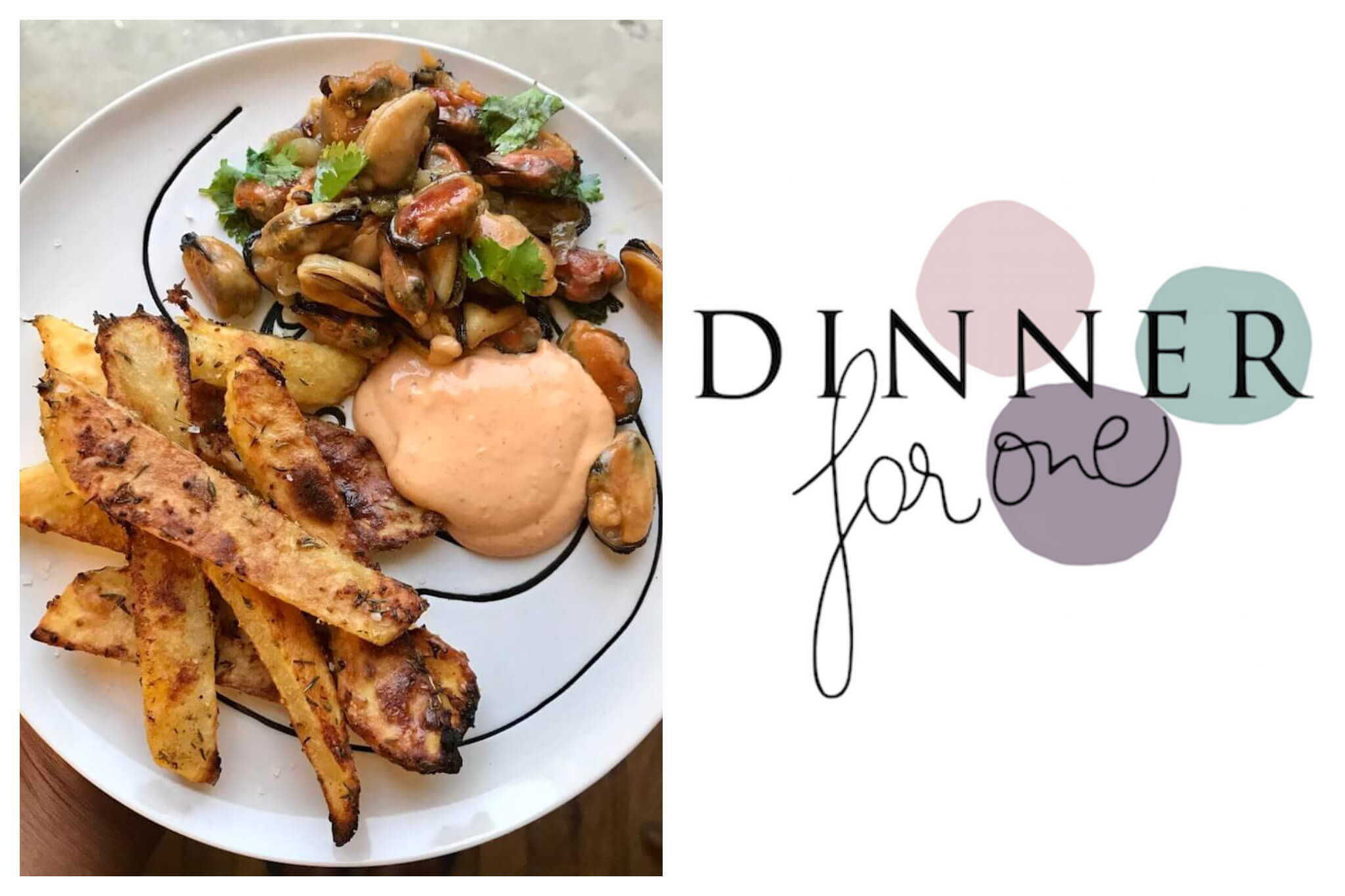 """Left: An overhead shot of a plate of moules-frites, with the fries to the left, the muscles (moules) to the right and a spicy mayonnaise sauce in the middle, Right: The Dinner For One ppodcast logo, with purple, pink and blue dots in the background, and the text """"Dinner For One"""" laid on top."""