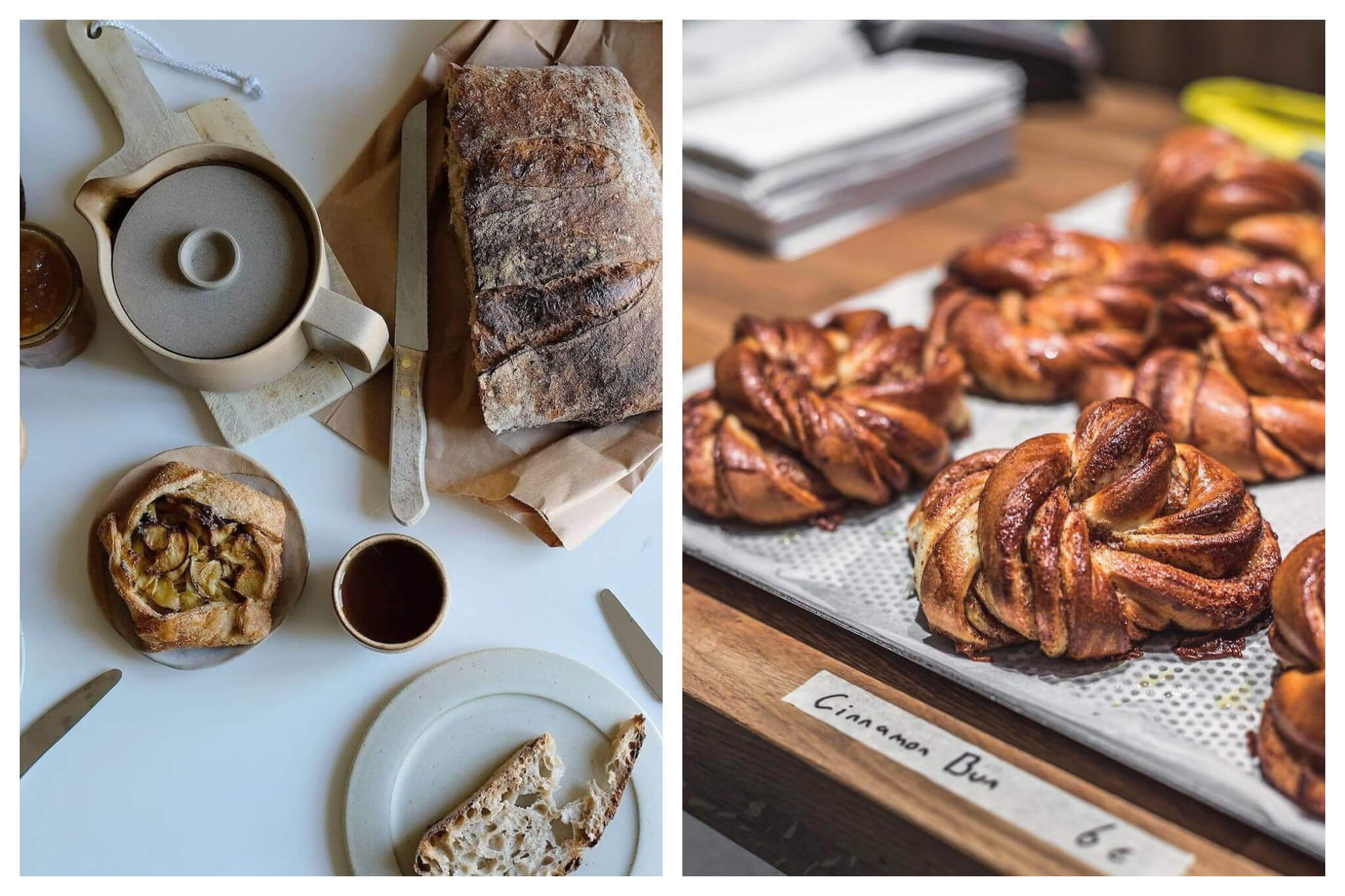 """Left: a table with a tea kettle sitting on a cutting board, a cup with tea in it, a large loaf of bread with a knife next to it, a small plate with a slice of bread on it, and an apple tart. Right: A display with several cinnamon buns with a small piece of tape with """"cinnamon buns 6€"""" written on it."""