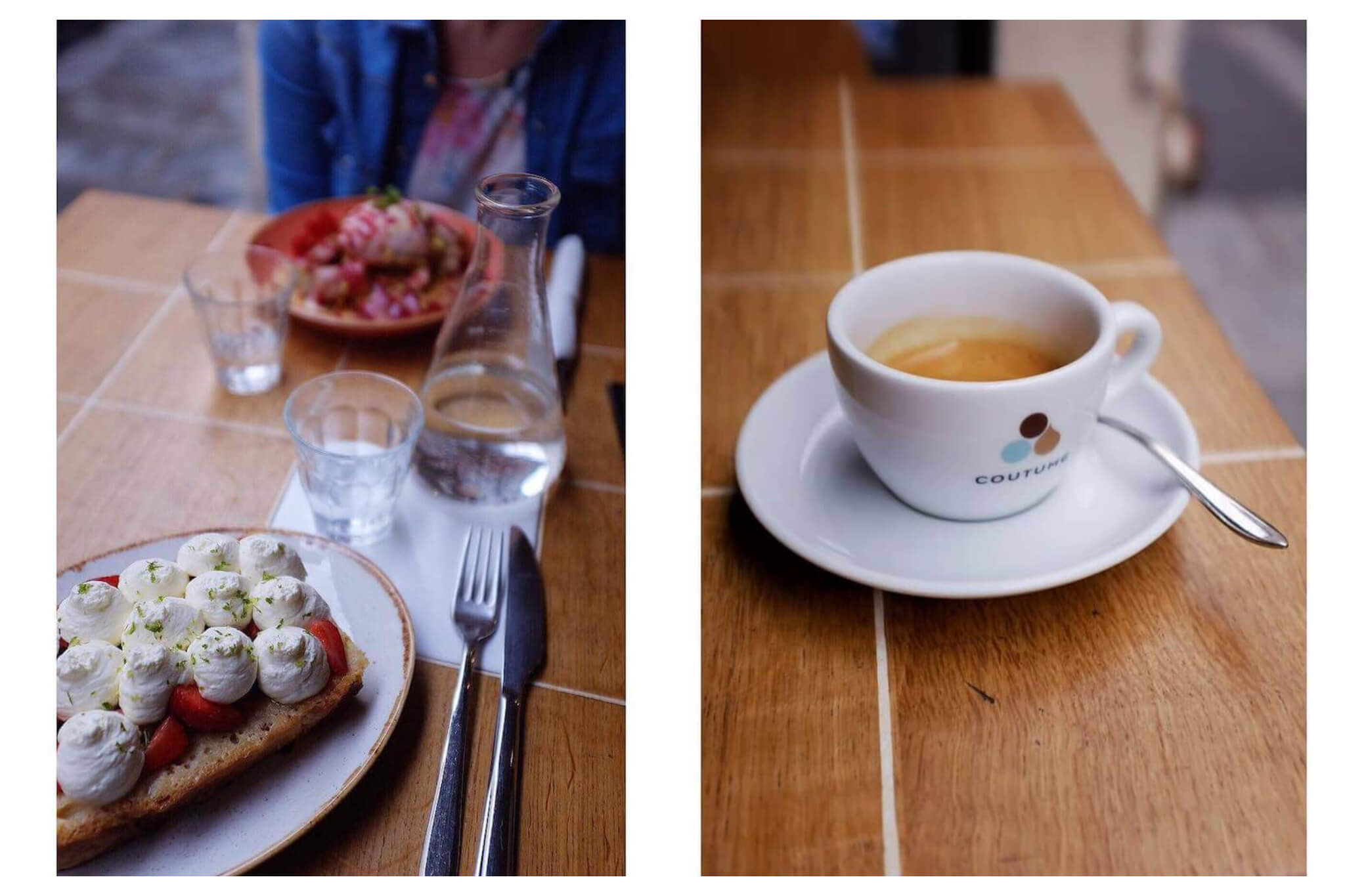 """Left: A plate with a piece of bread with strawberries and cream on top. There is a glass bottle filled with water and two glasses, and another plate of food in front of a person in the background. Right: A white cup of coffee with """"Coutume"""" written on it on white saucer."""