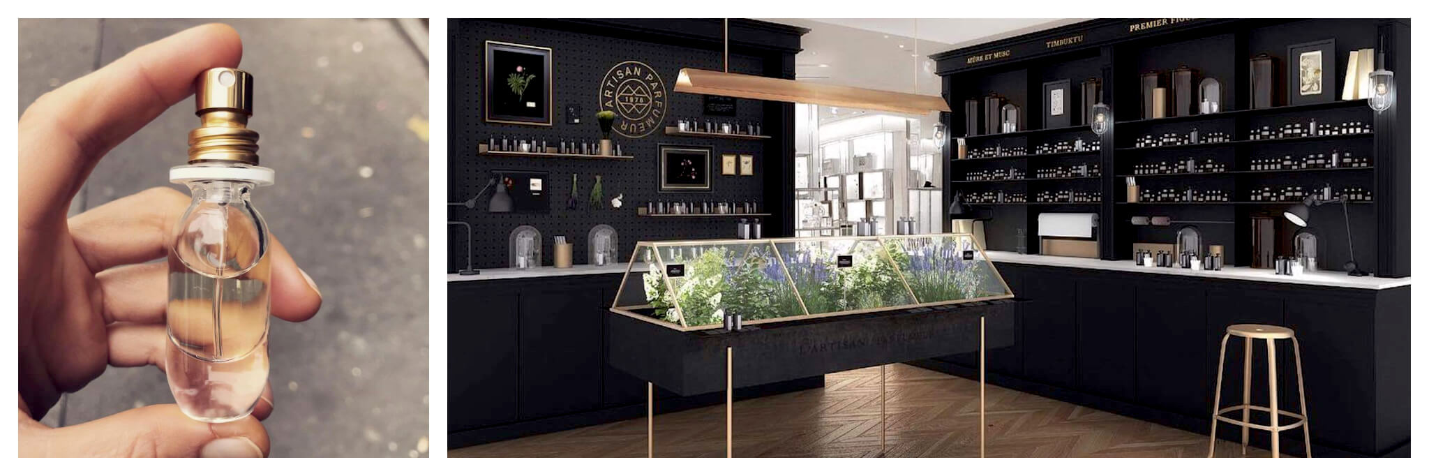 Left: a hand holding a small, clear bottle of perfume with a gold top. Right: interior of a perfume shop. The walls are black and the display cases have gold details. There is a glass case with green, white, and purple flowers.