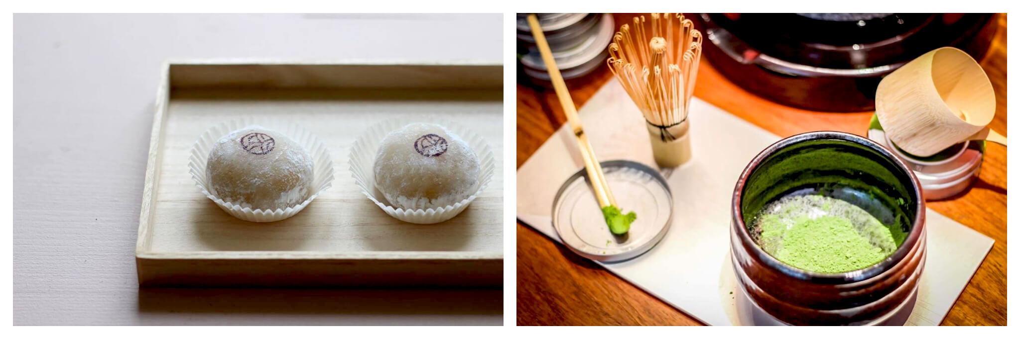 Left: two Japanese mochi desserts on a wooden tray. Right: a cup filled with green matcha tea on the right and a wooden matcha stirring tool on the left.