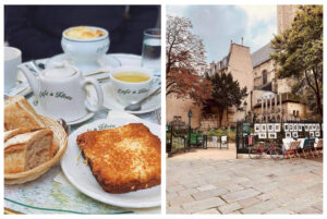 Left: a table at the Café de Flore with a basket of bread on the left, a croque monsieur sandwich on the right, and a tea kettle with two tea cups. There is a bowl of French onion soup on the table behind the tea cups. Right: a cobblestone square with buildings in the background. There is a fence with framed art work on it and a red bike.