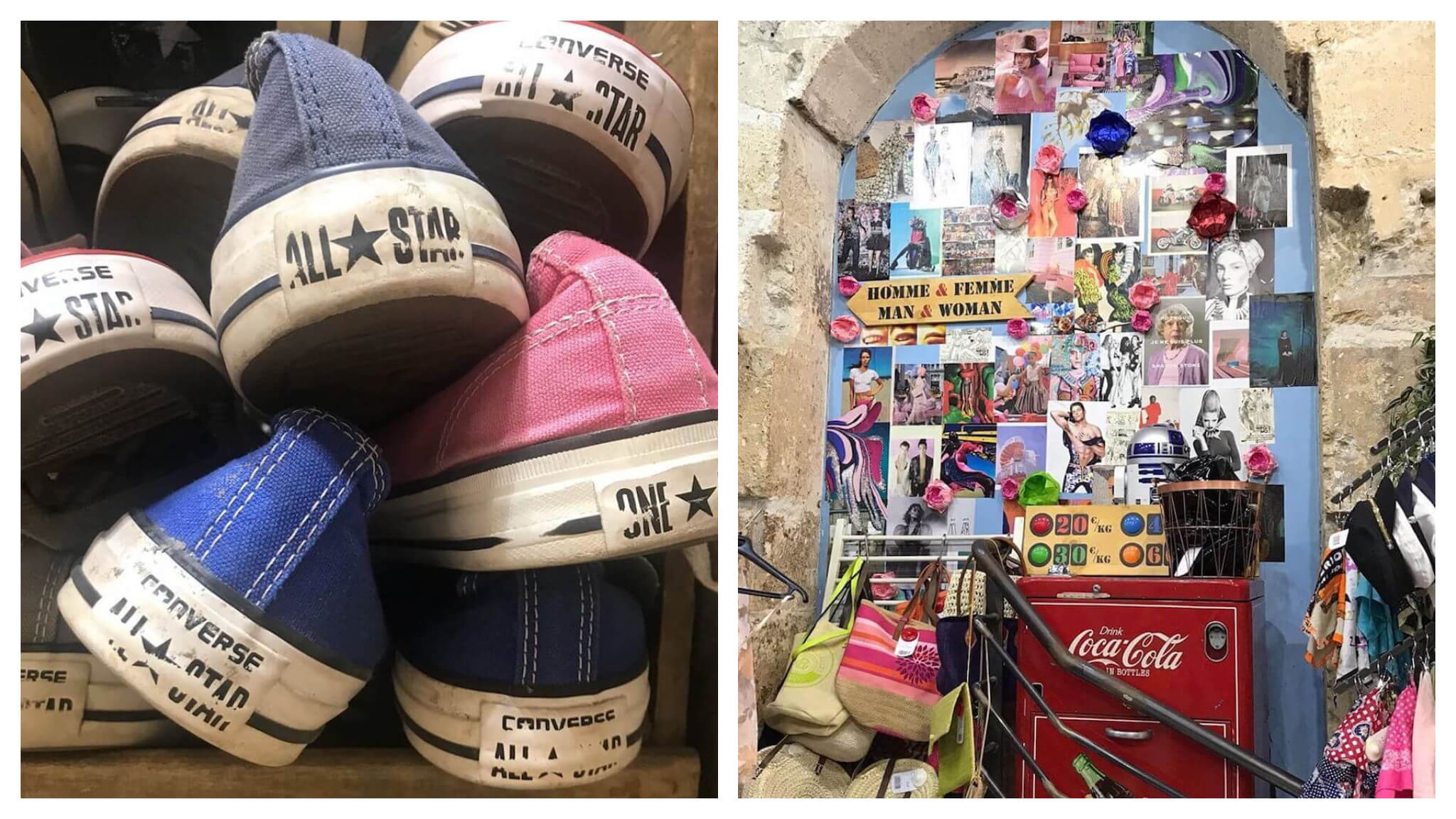 Left: eight Converse sneakers stacked on top of one another. The Converse All Star logo is visible. Right: Interior of Kilo Shop with a collage of several photos, several hats and scarves to the right, a red Coca Cola fridge, and several handbags to the left.