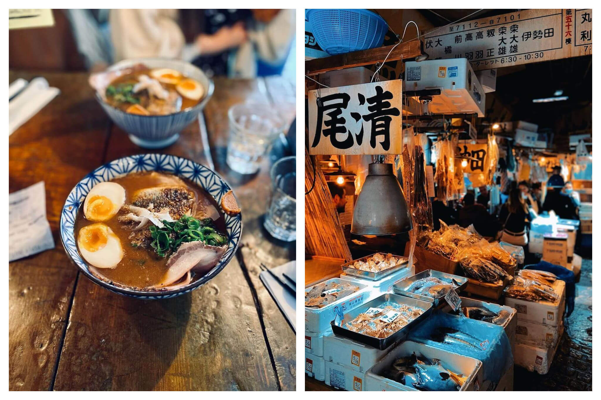 Left: a blue and white bowl filled with ramen soup with two eggs, meat, greens, and spices. Right: Interior of a ramen restaurant. There are several boxes filled with food products and a flag with Japanese lettering on it. There are people seated in the background