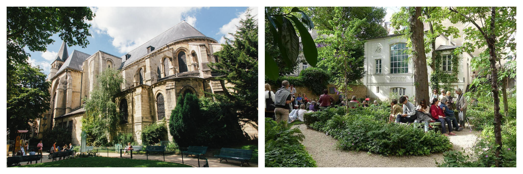 Left: Saint-Germain-des-Prés church with a small square with greenery and park benches in front of it. Right: The Musée Delacroix courtyard outside the museum. There is a lot of greenery and trees with people sitting on benches.