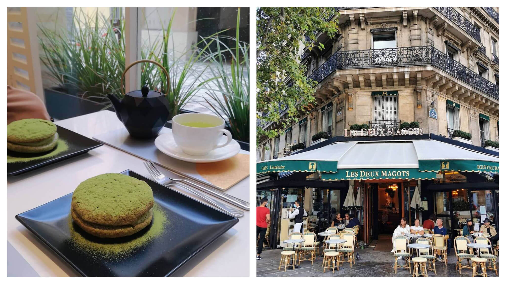 Left: A white table with two black plates with green matcha cakes on them. There is a black tea kettle and a white tea cup and saucer on the table. Right: An old Parisian building that is the exterior of Les Deux Magots café. There is a green and white awning with the name of the café in gold and there are several tables and chairs with people sitting at them.