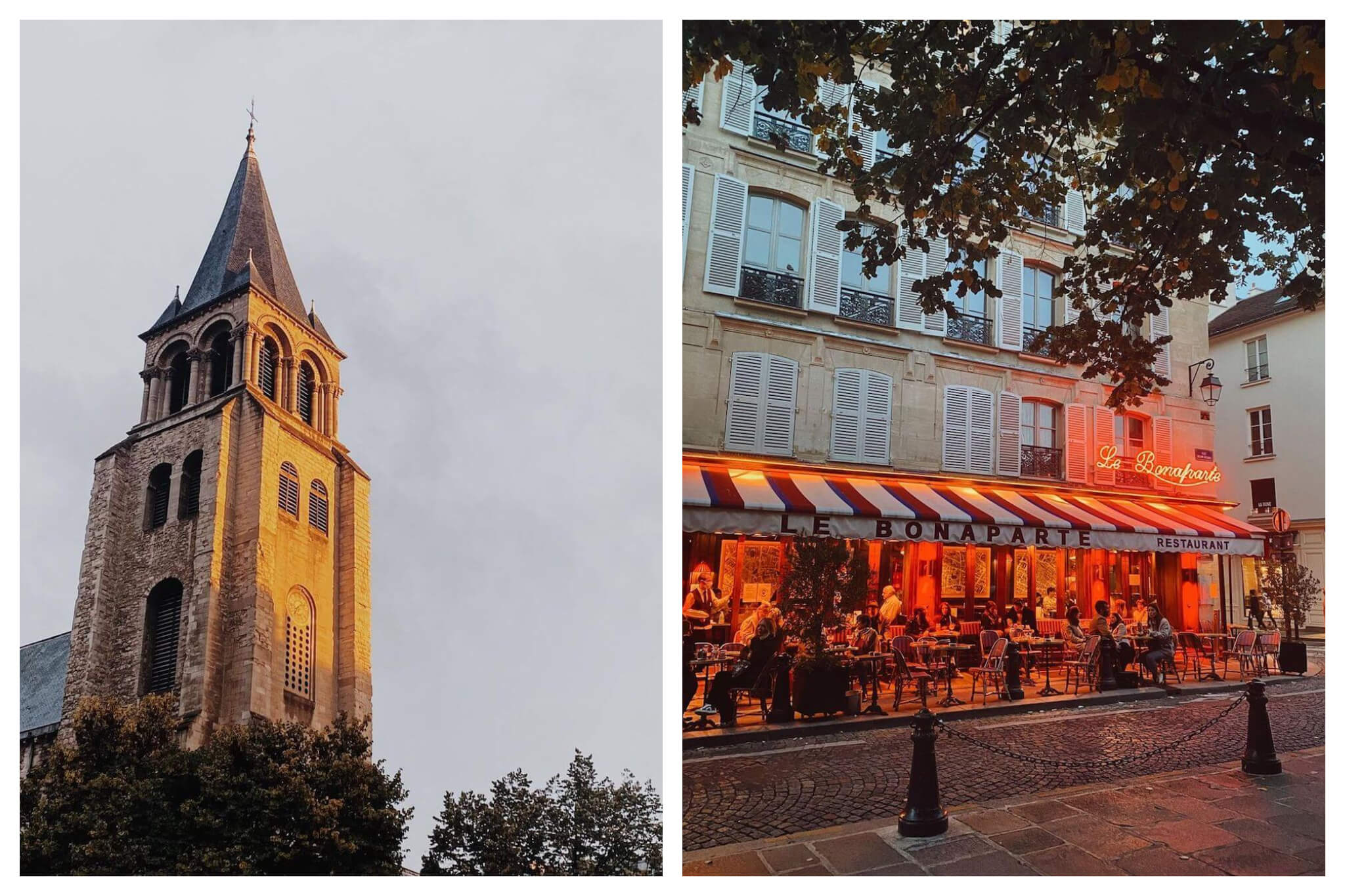 """Left: a church steeple with sun shining on it at dusk. There are trees visible near the base of the steeple. Right: Exterior of a Parisian cafe. The words """"Le Bonaparte"""" are lit up in red lights and the awning is white with blue and red stripes. There are several people sitting at tables in front of the cafe."""