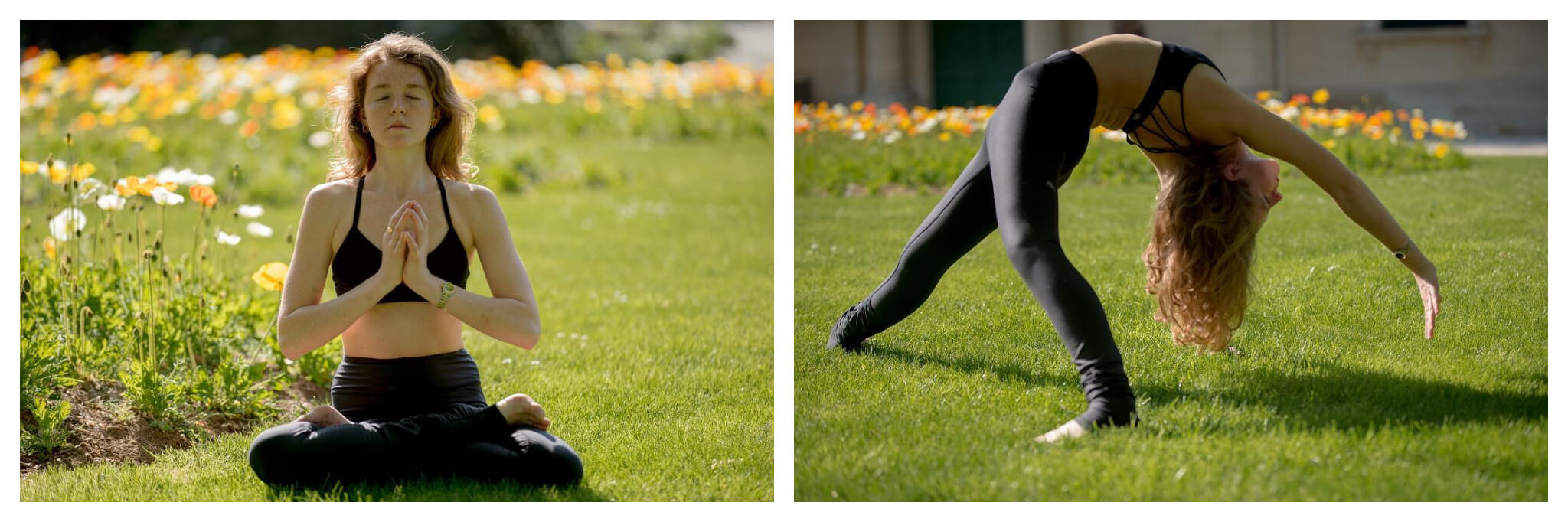 Left: a woman sits in lotus pose with hands in prayer, in front of flowers in full bloom. Right: A woman does a backbend in font of a bed of flowers.