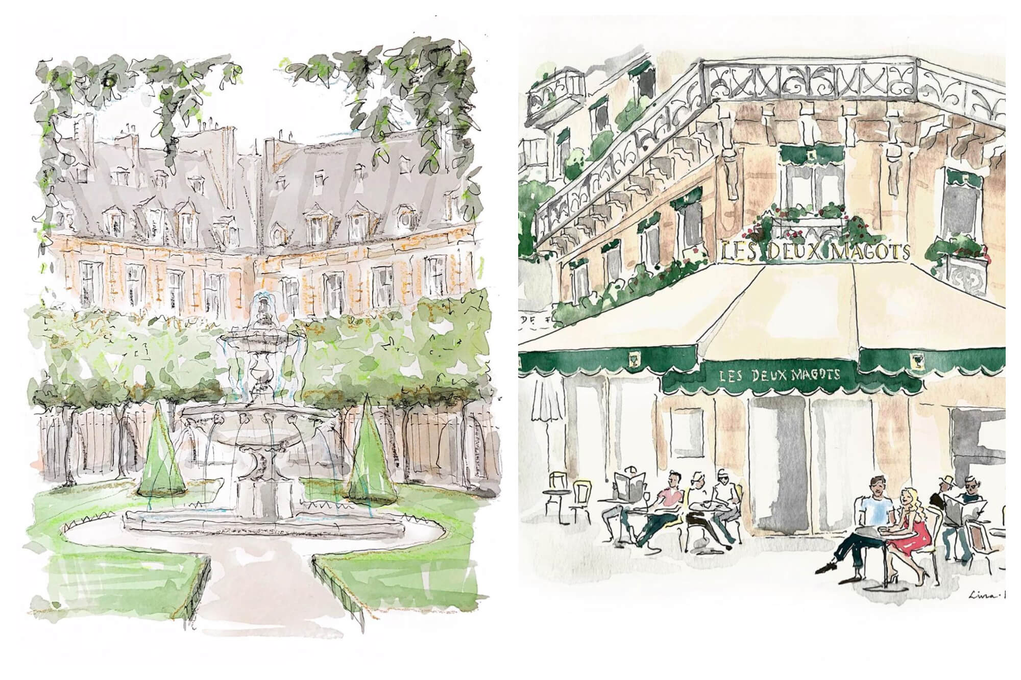 Left: A watercolor painting of a park with a fountain in the middle. There are buildings surrounding the park. Right: A watercolor of a Parisian cafe called Les Deux Magots. There are people sitting at tables outside and there is a green and cream colored awning.