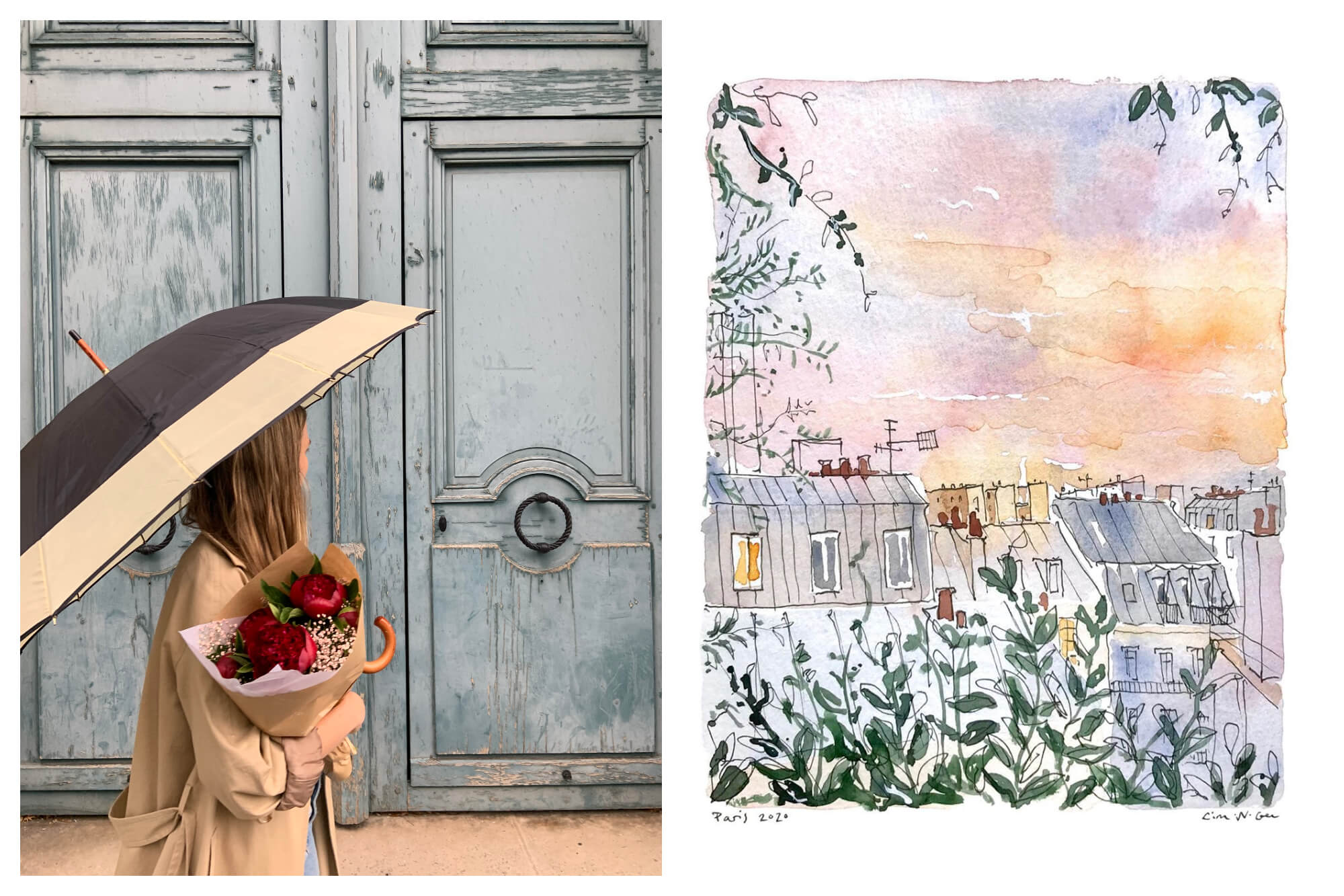 Left: Lina Nordin Gee enjoying a perfect day in Paris, walking in front of an old door, her long blong hair worn loose, with red roses in her hand while carrying an umbrella and wearing a beige trench coat. Right: A watercolor painting in pastel colors of Parisian roof tops with green trees on the edges of the image.